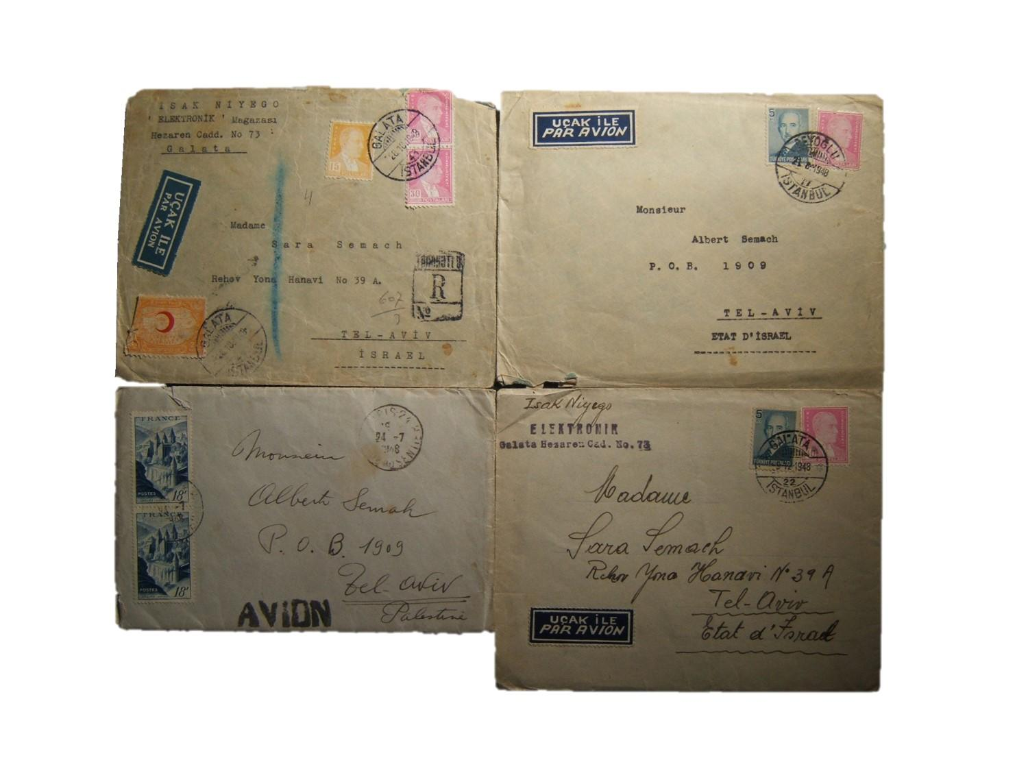 Lot x4 early Israeli foreign postal links: 1 airmail cover ex PARIS to TEL AVIV pmk'd 27-7-48 (addressed