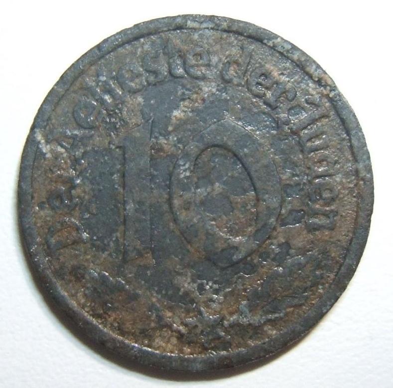 الحرب العالمية الثانية الهولوكوست بولندا Litzmannstadt لودز غيتو 10 Pfennig 1942 Type1 Mg coin VF