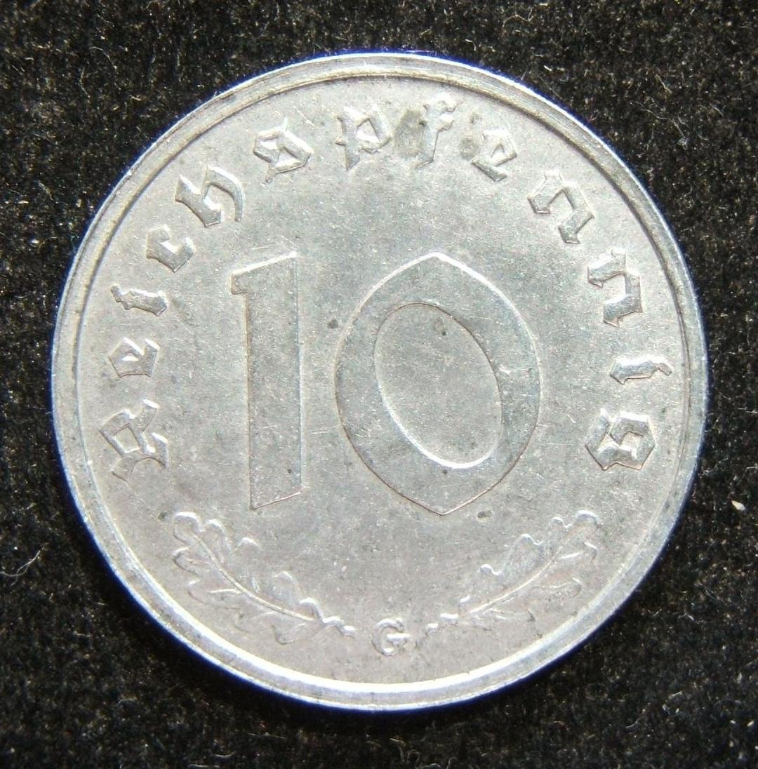 Germany: 10pf 1946G - Allied occupation issue; weight: 3.55g. BU all around with silver patina; no signs of wear visible (lack of full veins on leaves due to weak die strike); only