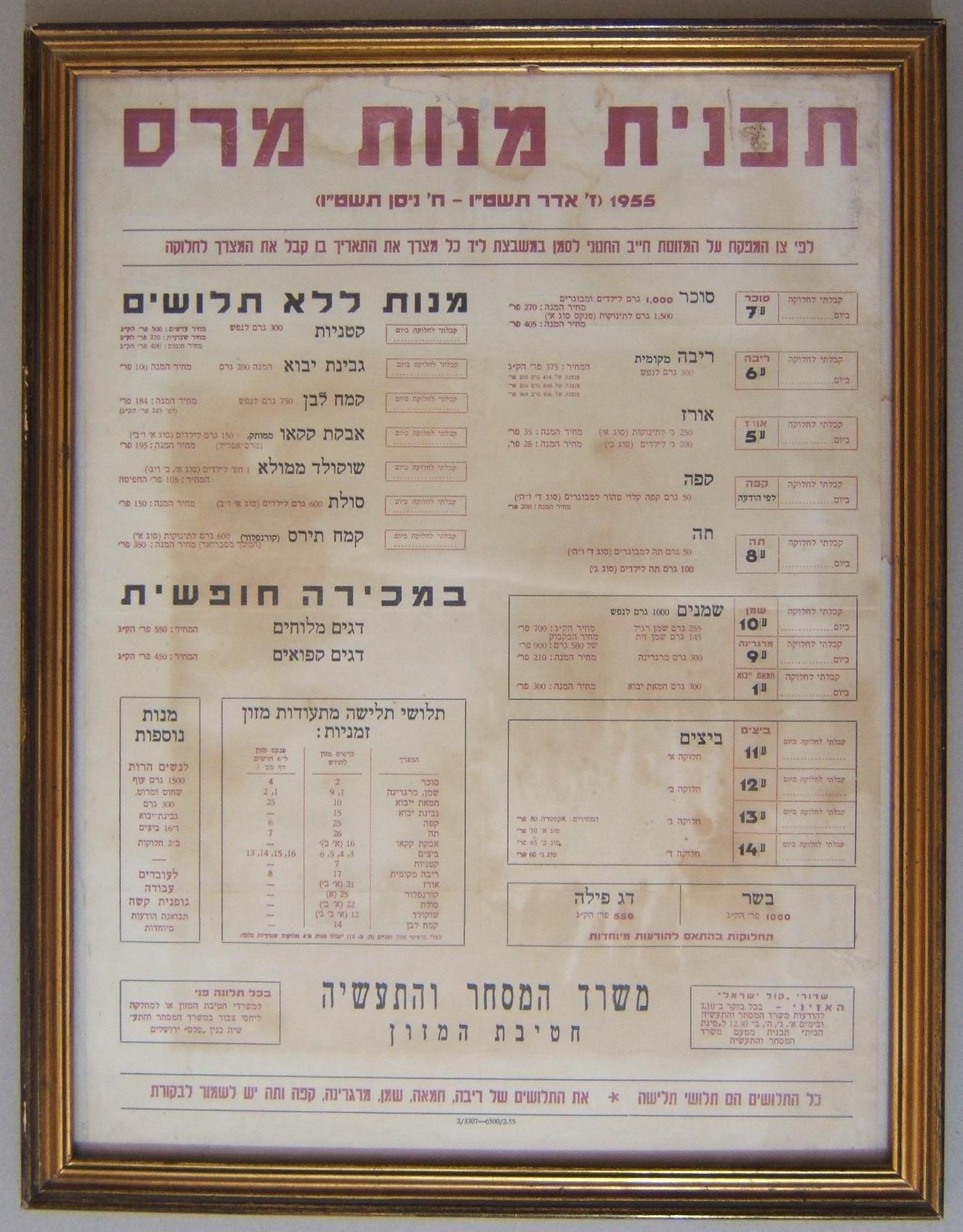 תקופת הצנע בישראל (1949-1959),מחירון ממוסגר שהונפק על ידי משרד המסחר והתעשייה של המחלקה למזון, מיועד לתצוגה בחנויות משתתפות. מחירון זה לא מלא (עם תאריכי ההגעה של מוצרי המכולת). כות