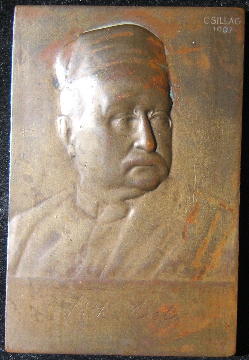 Hungary: B�la T�th uniface bronze plaque, 1907; by Jewish medallist Istvan (Stephan) Csillag; size: 50x74.75 mm; weight: 104.8g. T�th (1857-1907) was a journalist and writer. Fried