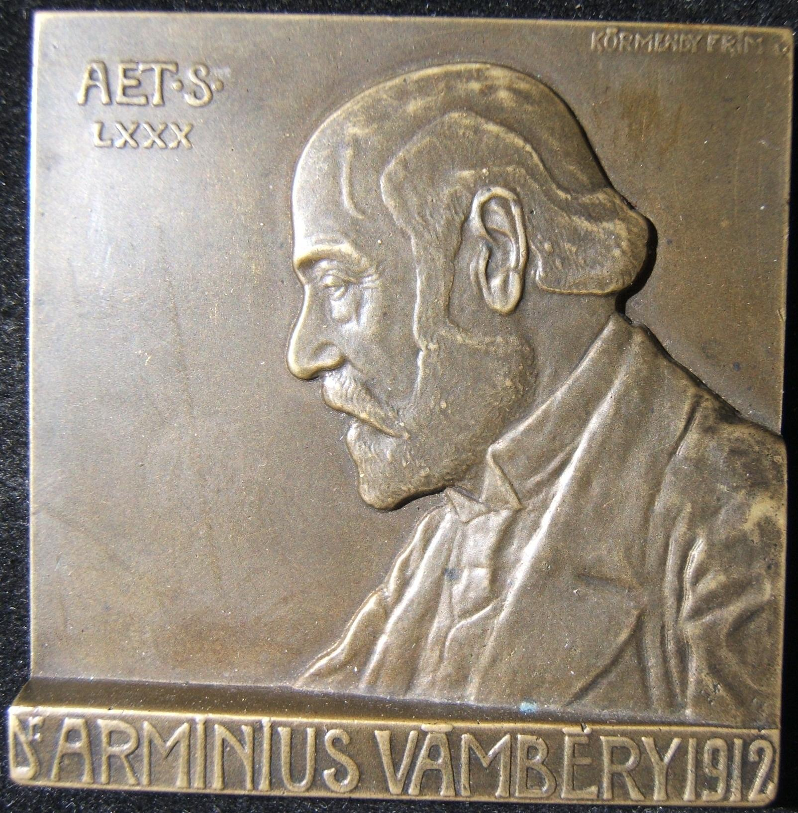 Hungarian Dr. Armin Vambery 80th birthday Judaica plaquette, 1912 by Kormendi