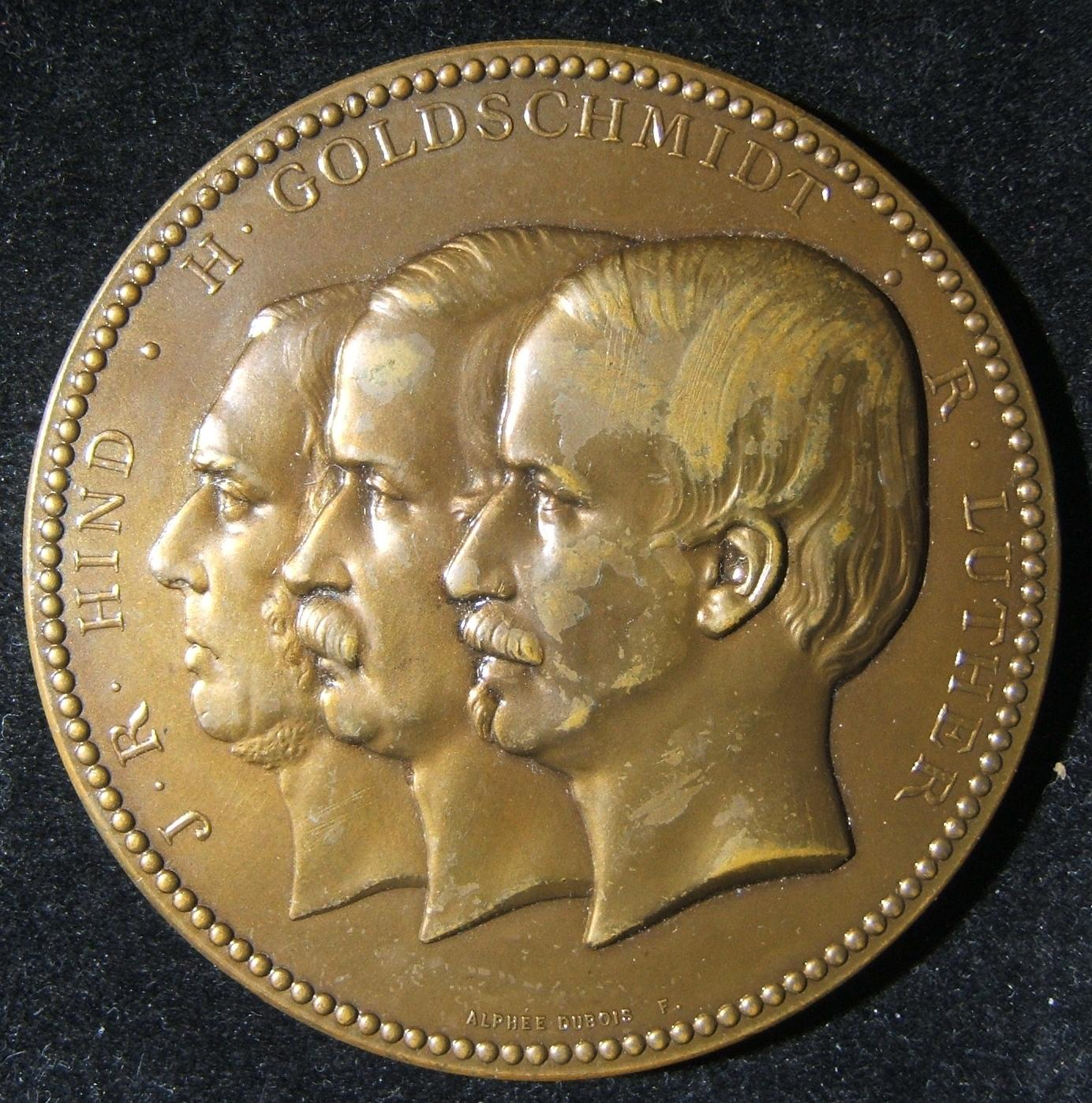 France: bronze medal commemorating the 100th Astroid discovered, featuring Jewish Franco-German astronomer Hermann Mayer Salomon Goldschmidt, 1868; by Alph�e Dubois; size: 69.25mm;