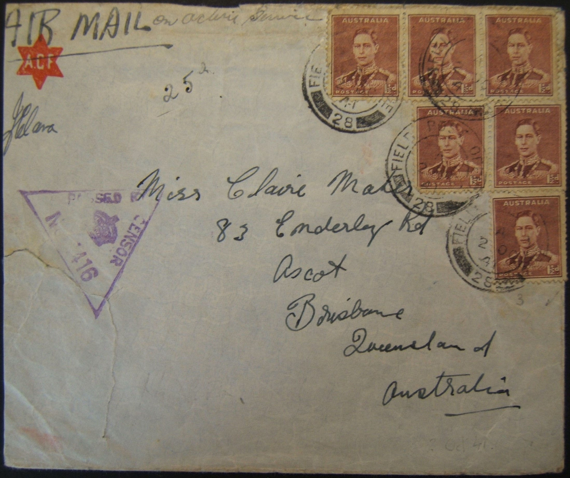 10/1941 WWII franked & censored Australian military airmail from BEIRUT to BRISBANE