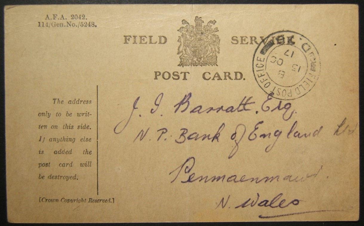 10/1917 WWI מצרים דואר צבאי בריטי מ- FPO D.75 אל עריש לאנגליה