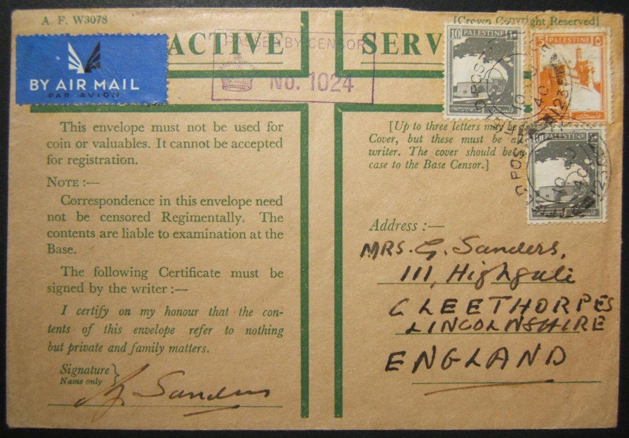 10-06-1940 بريد عسكري بريطاني من فلسطين عبر إيطاليا في نفس اليوم دخلت إيطاليا الحرب العالمية الثانية