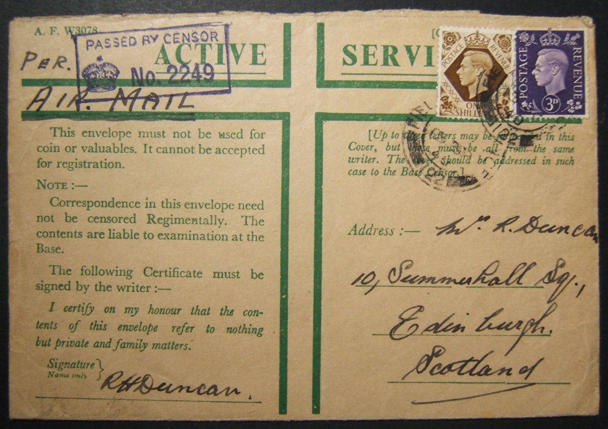 9/1940 الحرب العالمية الثانية إرسال بريد عسكري أسترالي إلى اسكتلندا من فلسطين عبر طريق حدوة الحصان