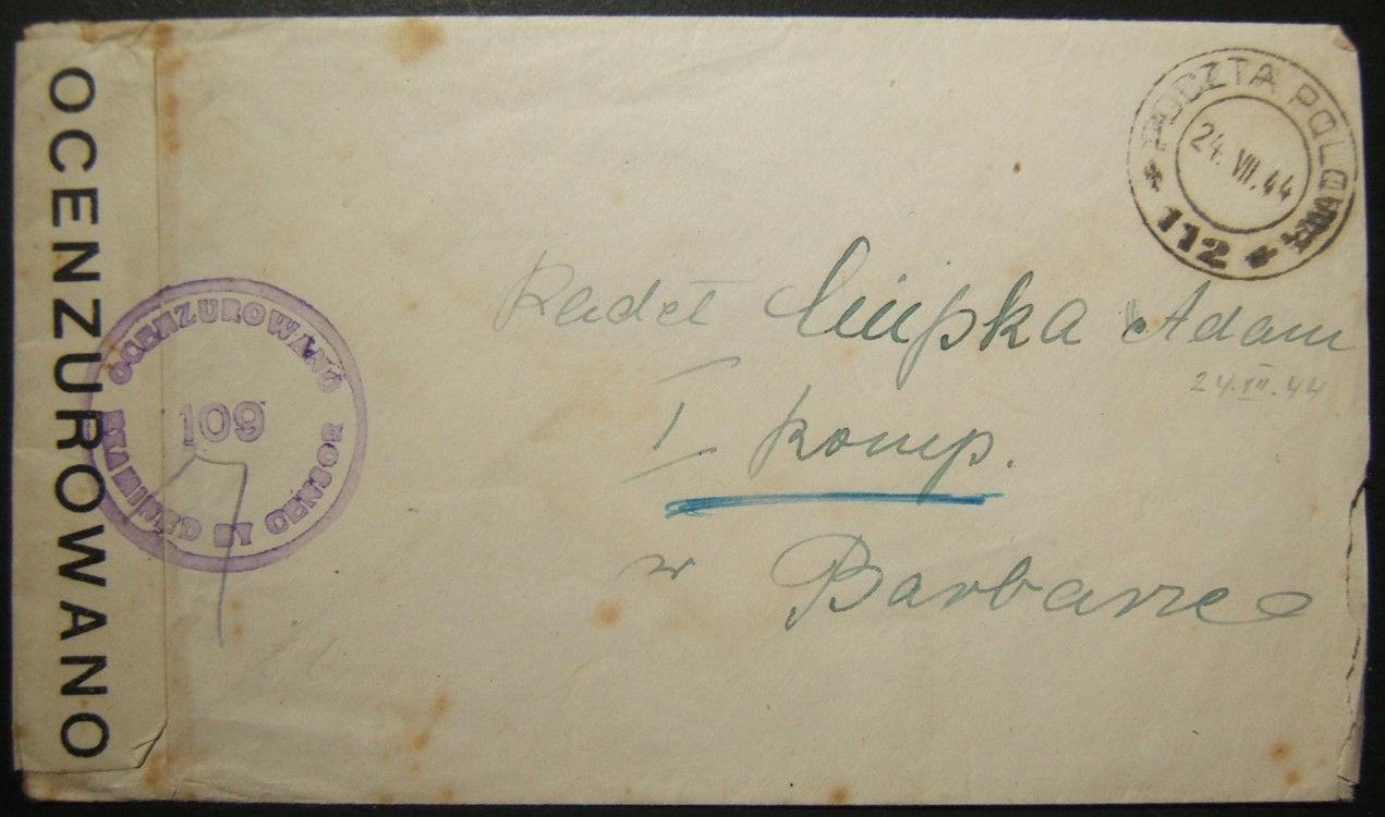 7/1944 الحرب العالمية الثانية تم التعامل مع البريد العسكري البولندي في فلسطين وتم مراقبته من قبل الجيش البولندي