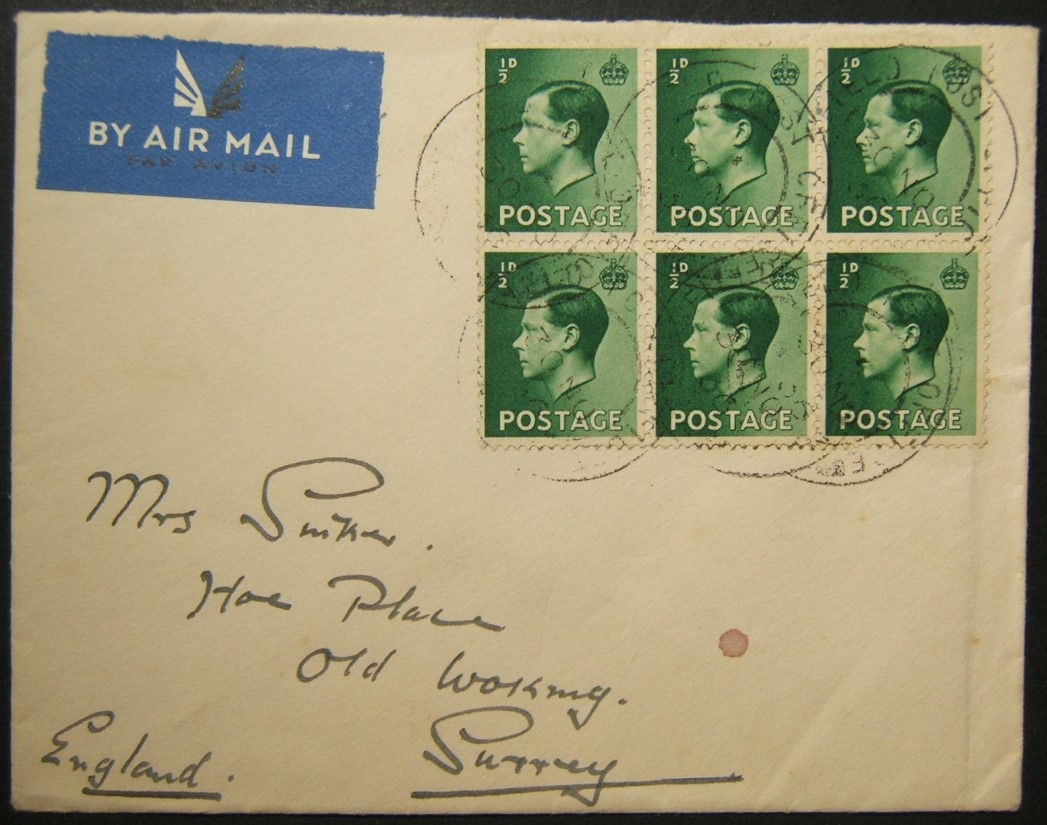 10/1936 Arab Revolt airmail from 13th Brigade FPO 22 TULKAREM to UK with rare postmarks