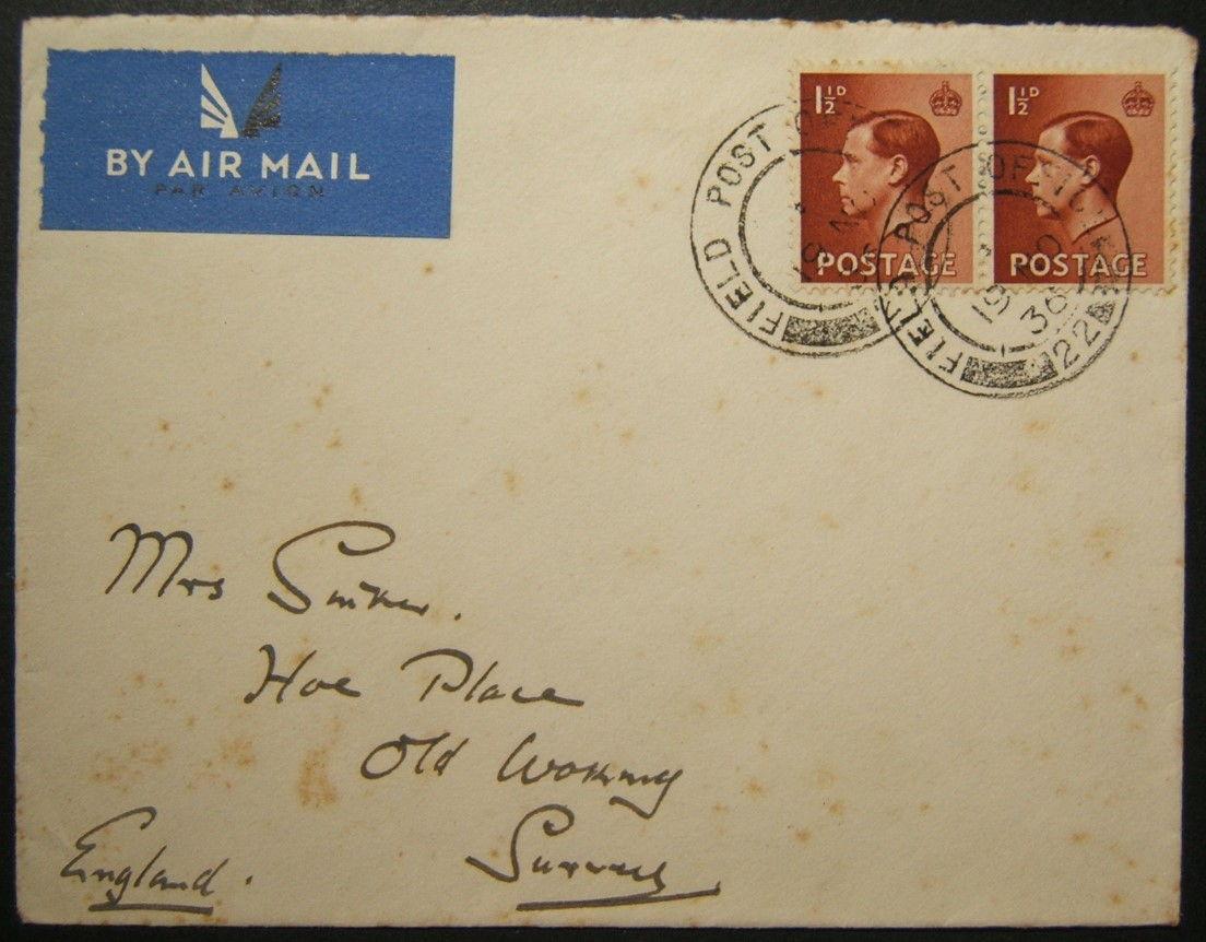 11/1936 דואר אלקטרוני של המרד הערבי מחטיבה 13 FPO 22 TULKAREM אל בריטניה עם חותמות נדירות
