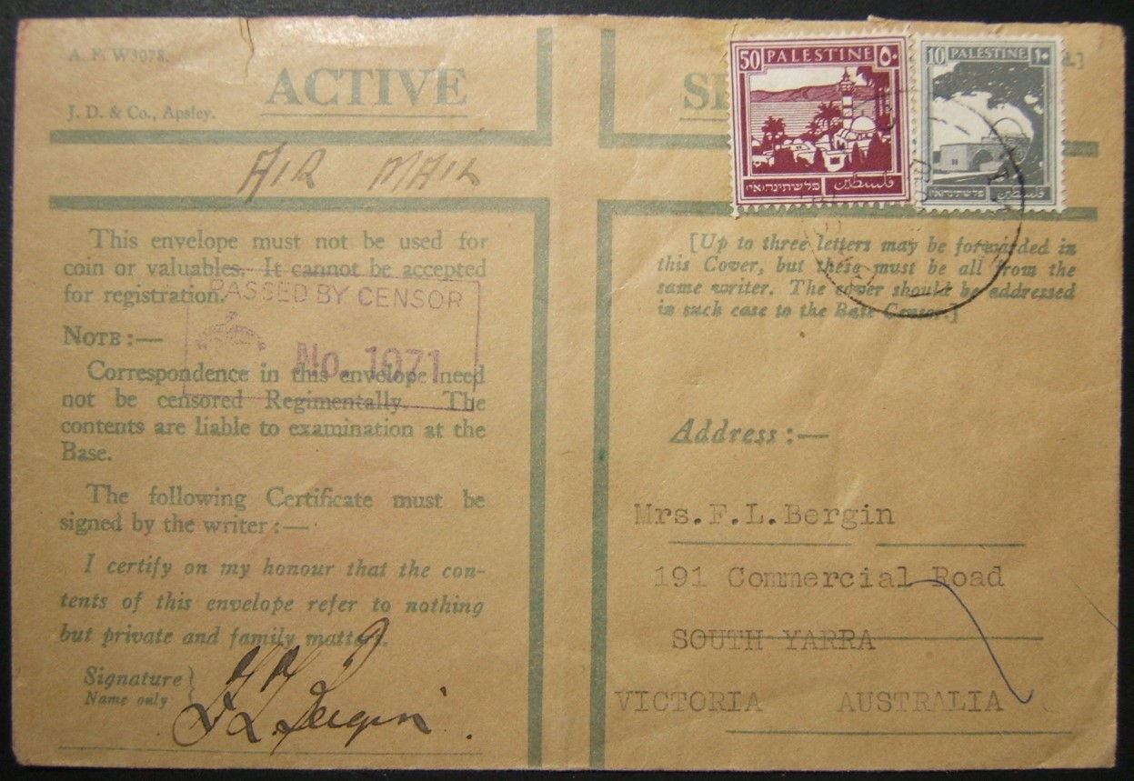 6/1940 WWII Australian army mail on last empire-wide airmail route from Palestine