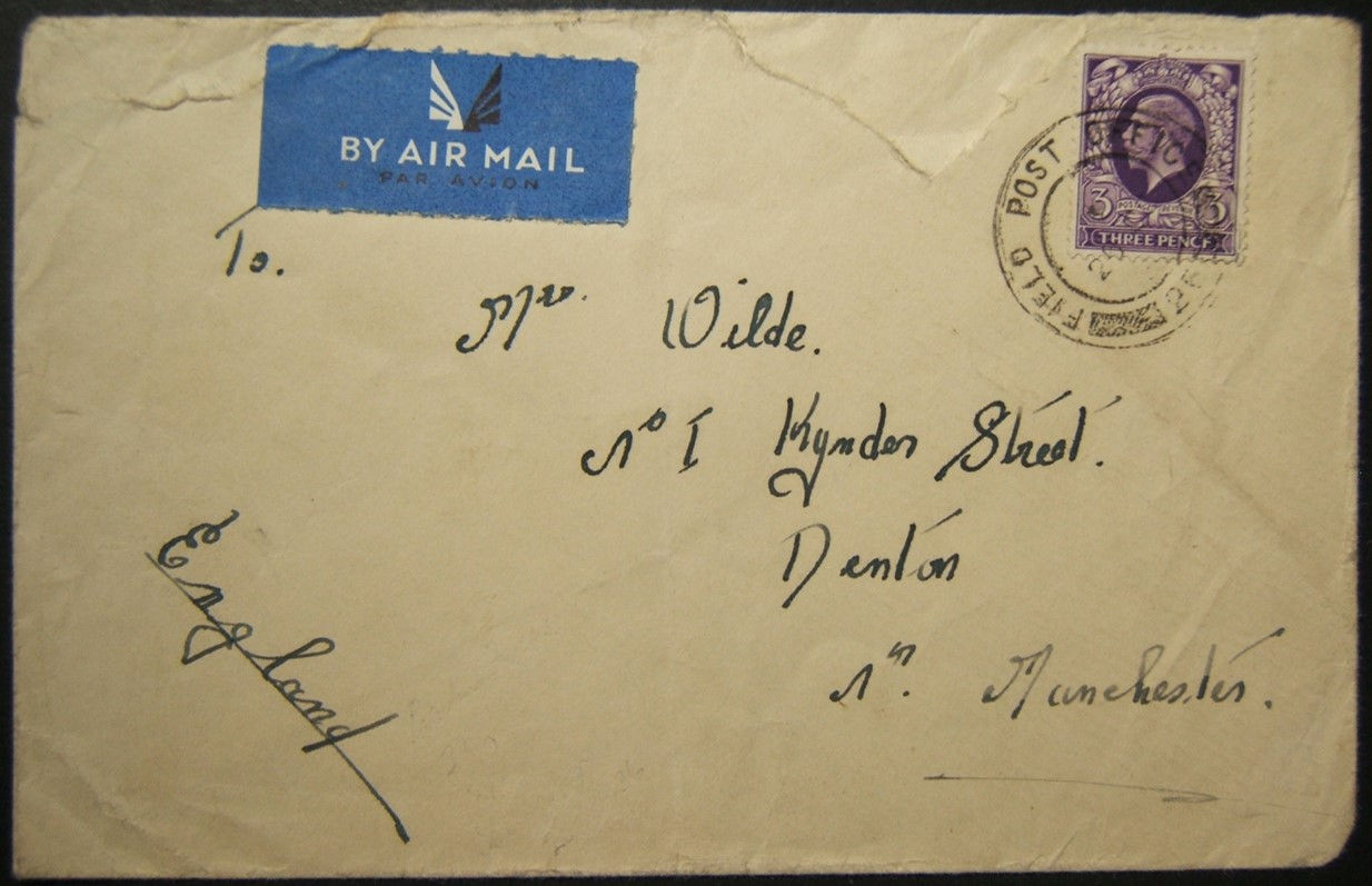 10/1936 Arab Revolt era airmail from 5th Division FPO 25 HAIFA to UK with rare postmark