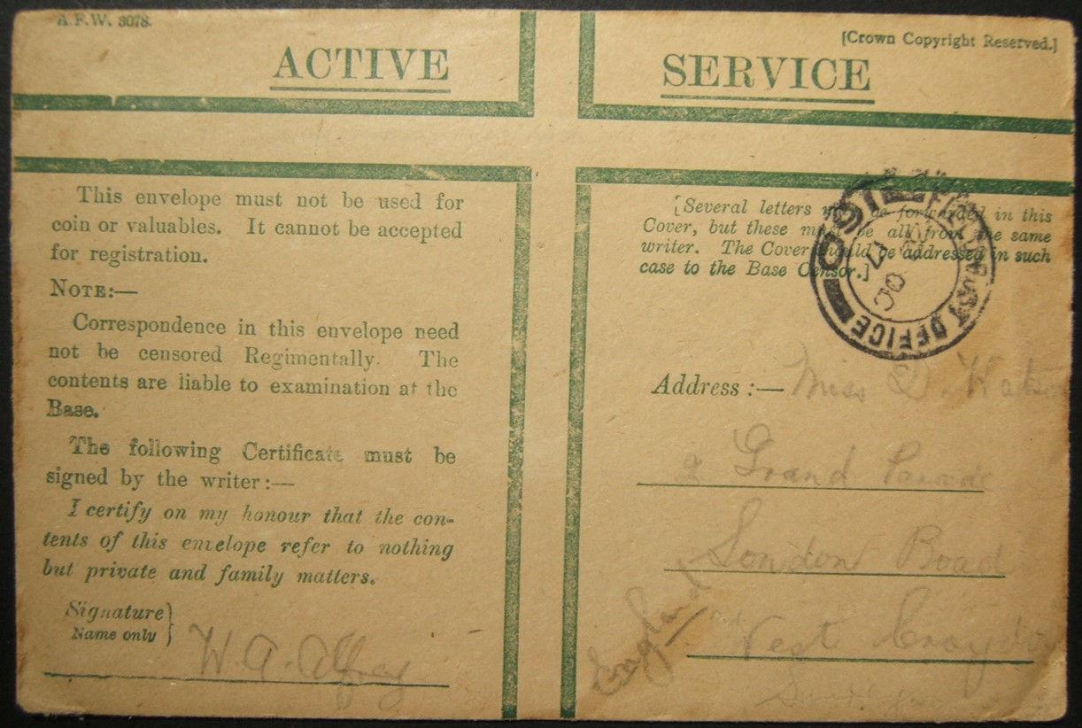 10/1917 מלחמת העולם הראשונה פלשתינה דואר צבאי בריטי מ- FPO 160 GAZA ל- Croydon