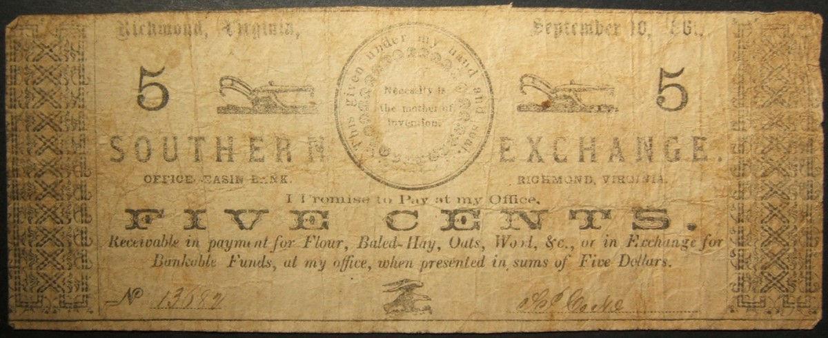 الاتحاد الكونفدرالي للولايات المتحدة SP كوك جنوب التبادل 5 ¢ مخزن رمز 1861