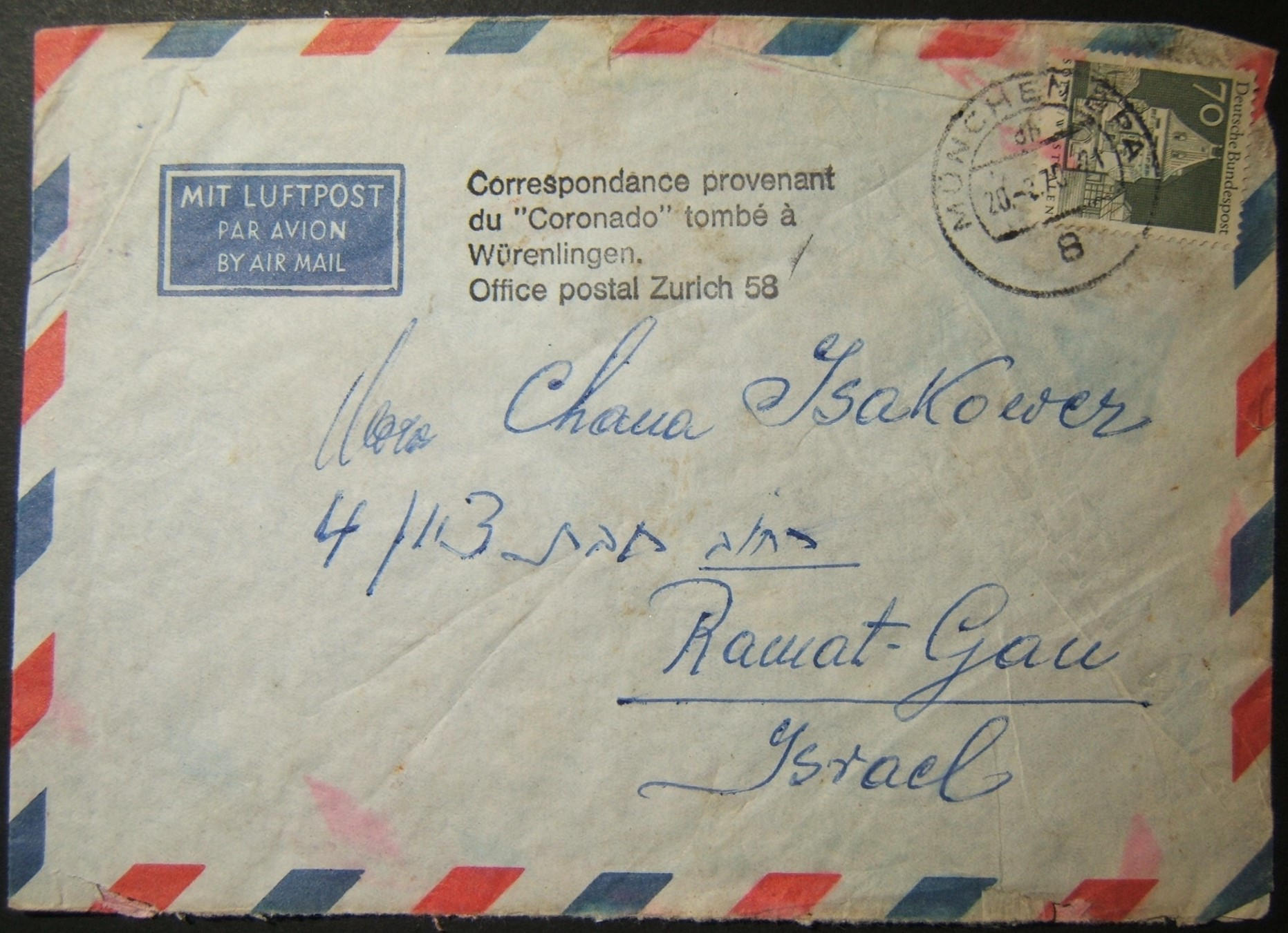 1970 deutsche Luftpost nach Israel erholte sich von Coronado Terroranschlag und Absturz