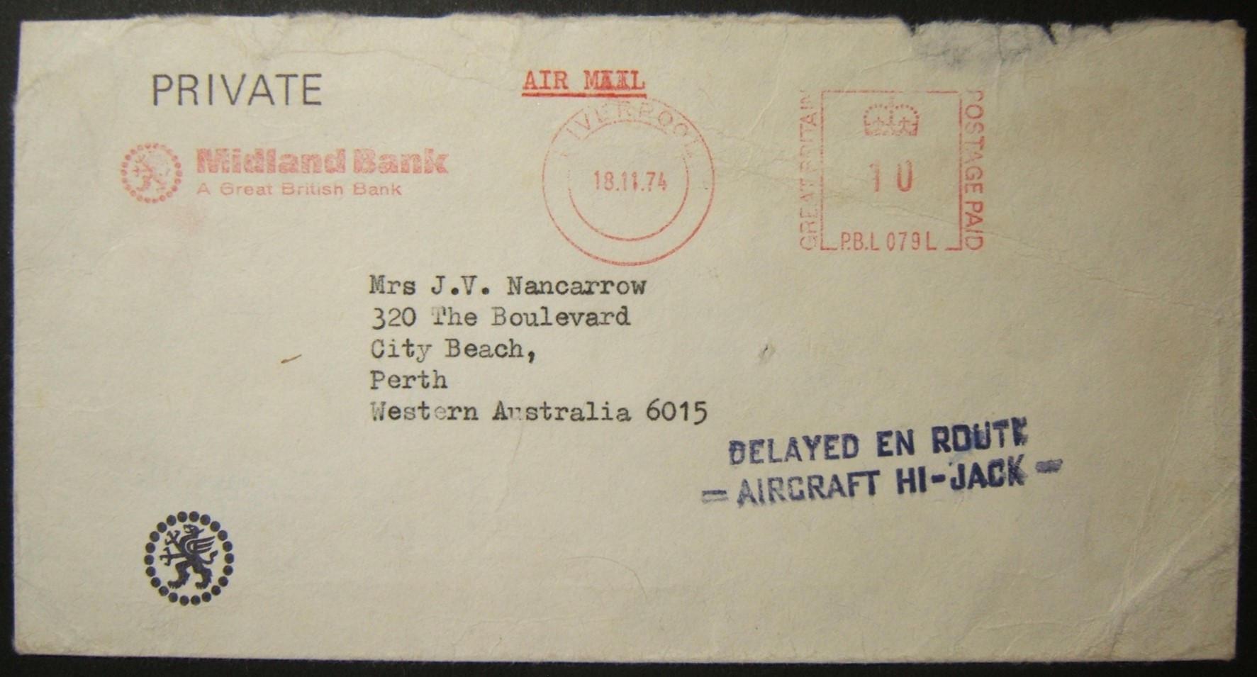 1974 British airmail to Australia from hijacked BA-870 flight; rare postal marking