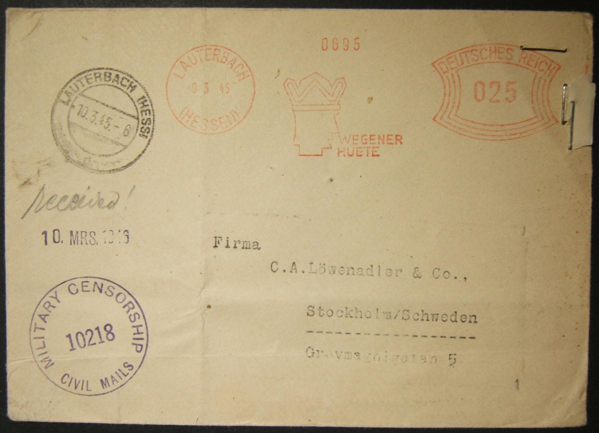 3/1945 end WWII German Uberroller mail to Sweden, processed by US Army; delivered