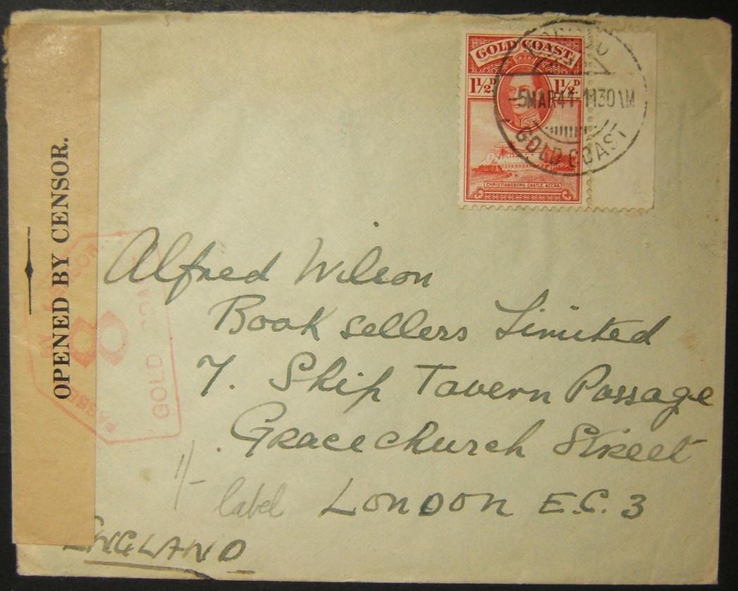 3/1941 الحرب العالمية الثانية جولد كوست حجب البريد السطحي إلى المملكة المتحدة