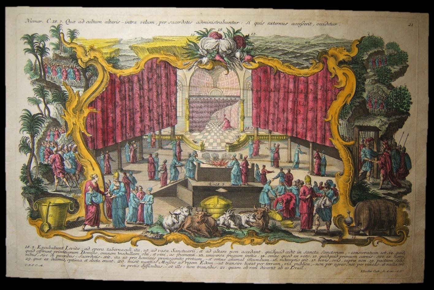 המאה ה -18 צבע נחושת תחריט של הלווים במשכן על ידי האחים קלאובר