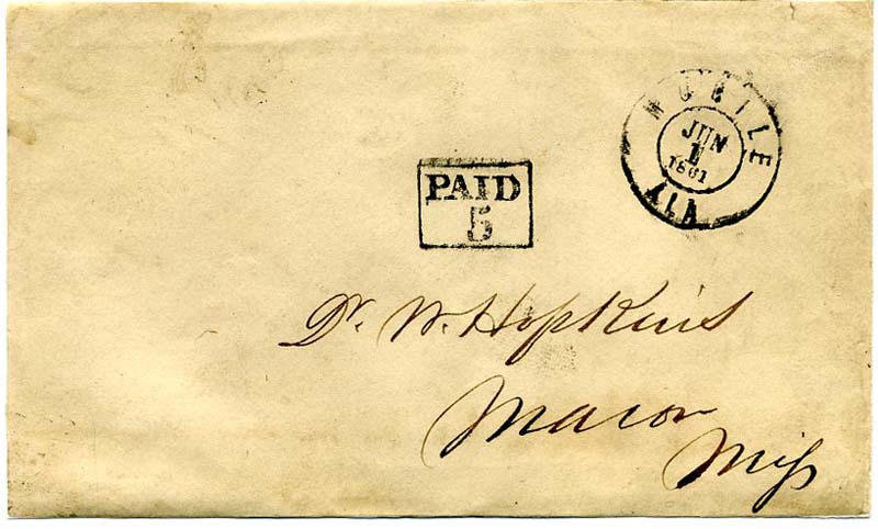 1 June 1861 1st Day Confederate Postal service MOBILE to MACON Civil War mail