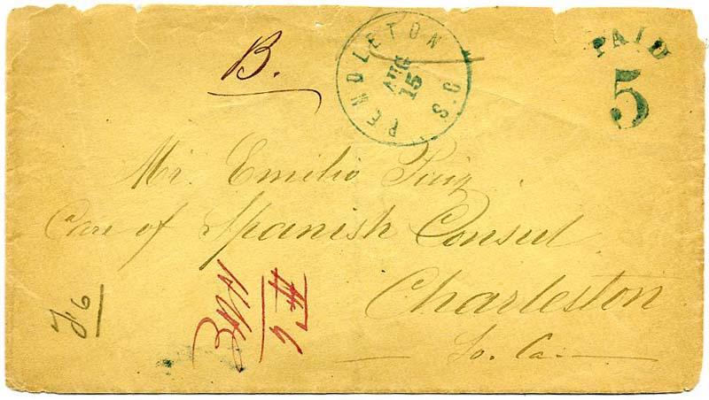 8/1861 احتلت المحكمة جائزة الحرب الأهلية القبض على الحصار جنوب CAROLINA-CUBA البريد