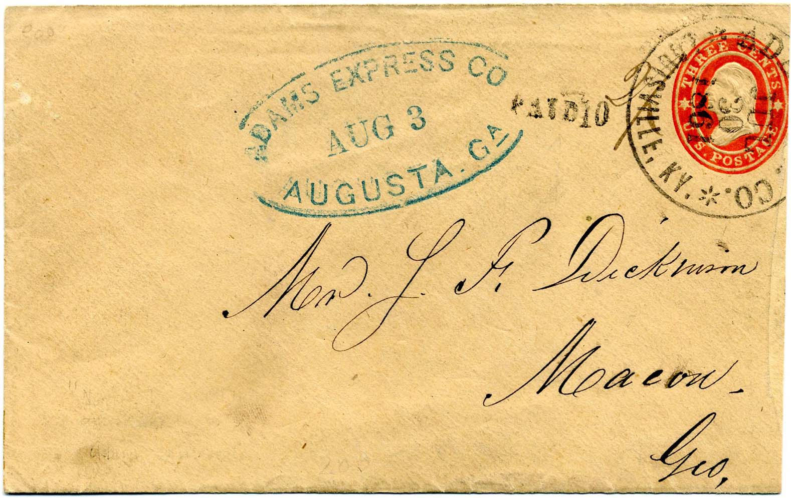 30 July 1861 Southbound Across-the-Lines Private Express LOUISVILLE-MACON mail