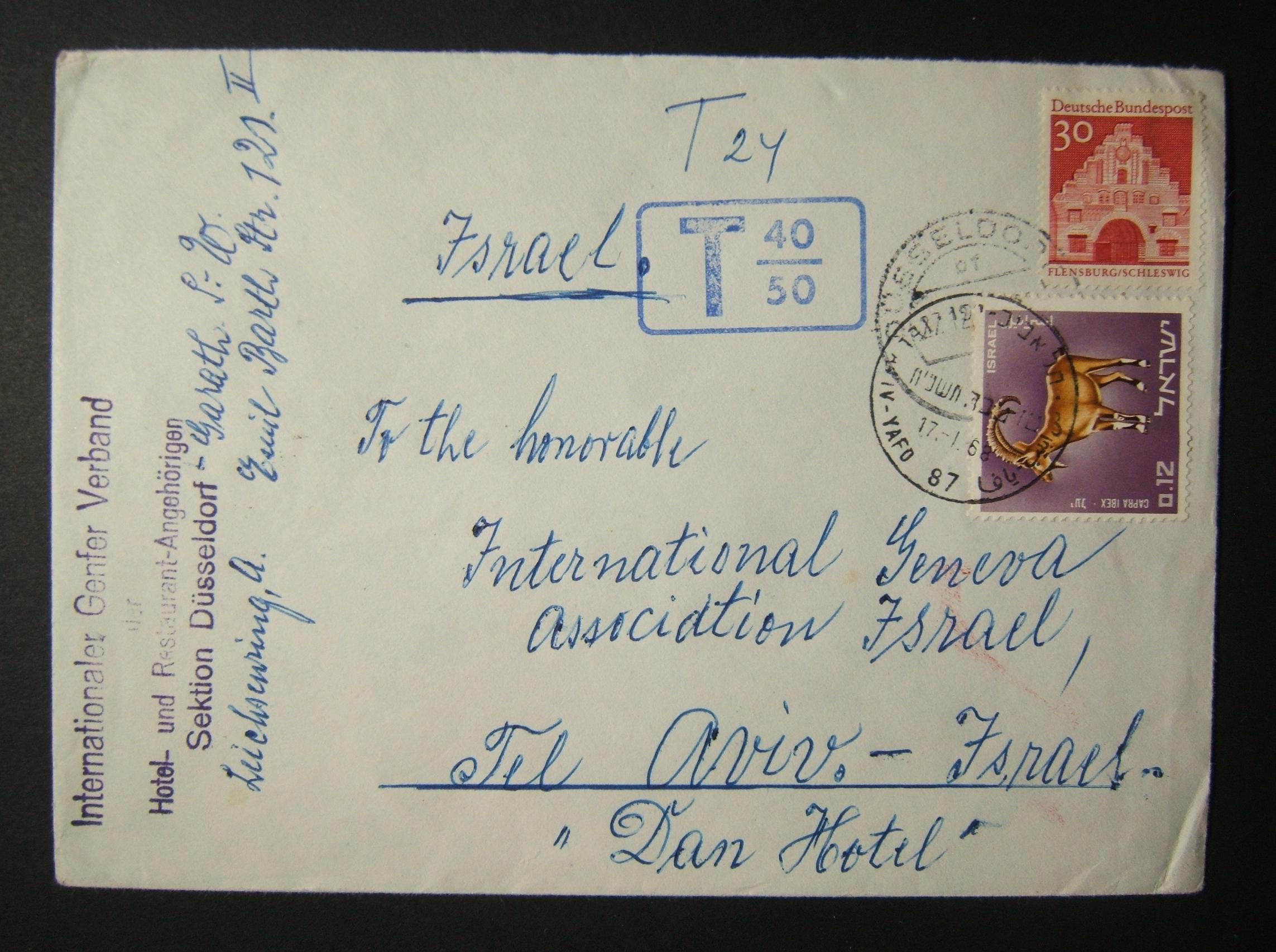 1968 incoming German postage due mail: 27-12-67 surface mailed commercial cover ex DUSSELDORF to TLV underfranked at 30 Pf and taxed twice the deficiency at 24 Pf, paid and franked