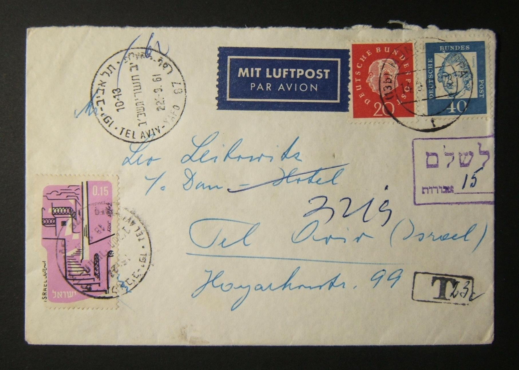 1961 incoming German postage due mail: 14-9-61 airmail cover ex MUNICH to TLV underfranked at 60pf and marked 23pf by German tax cachet; 15 Ag tax paid in TLV 18-9-61 using sgl 196
