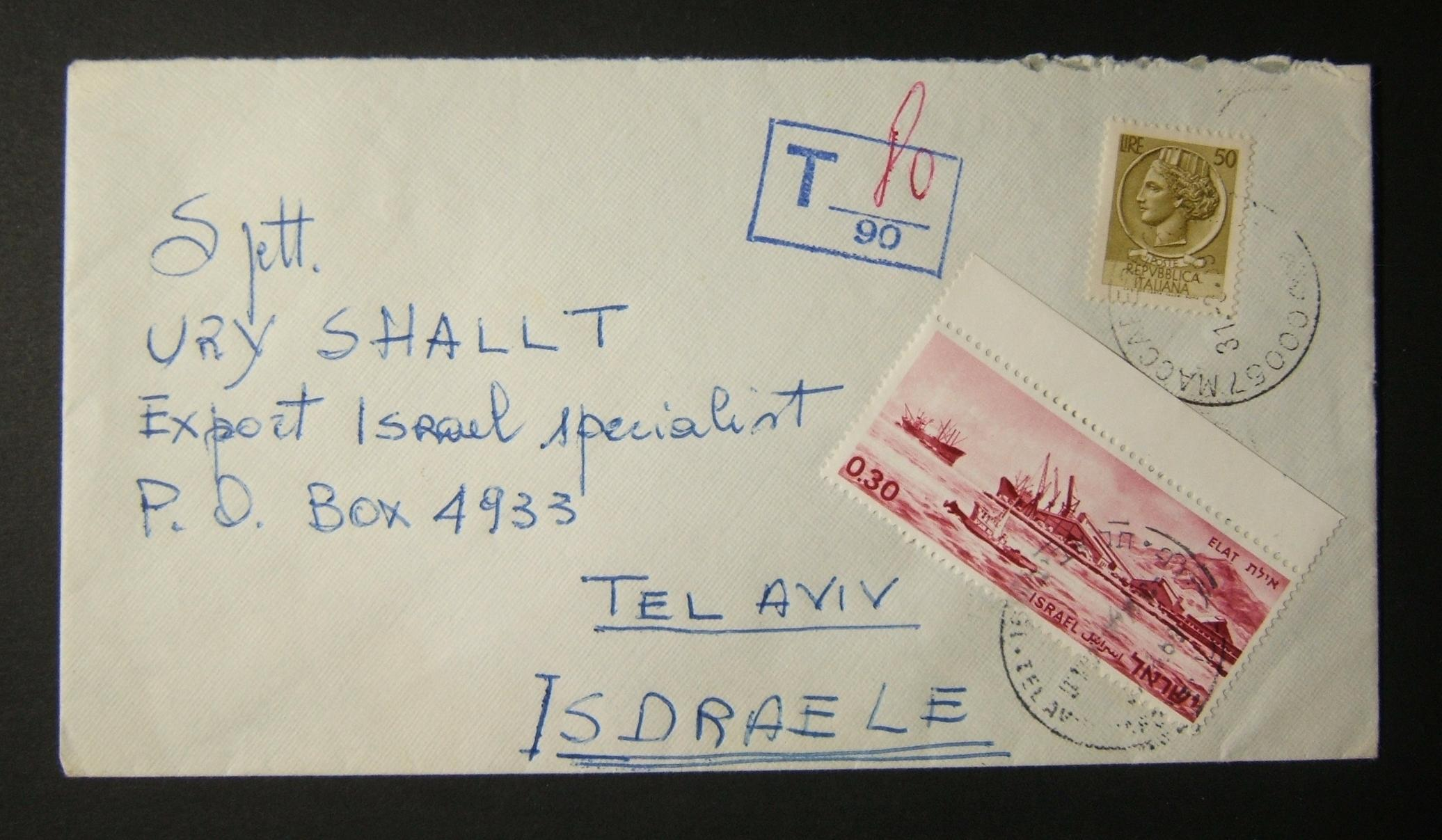 1969 incoming Italian postage due mail: 31-3-69 surface mailed(?) commercial cover ex ROME to TLV underfranked at 50c and marked for 80c tax in Italy, paid in TLV as 30 Ag using 19