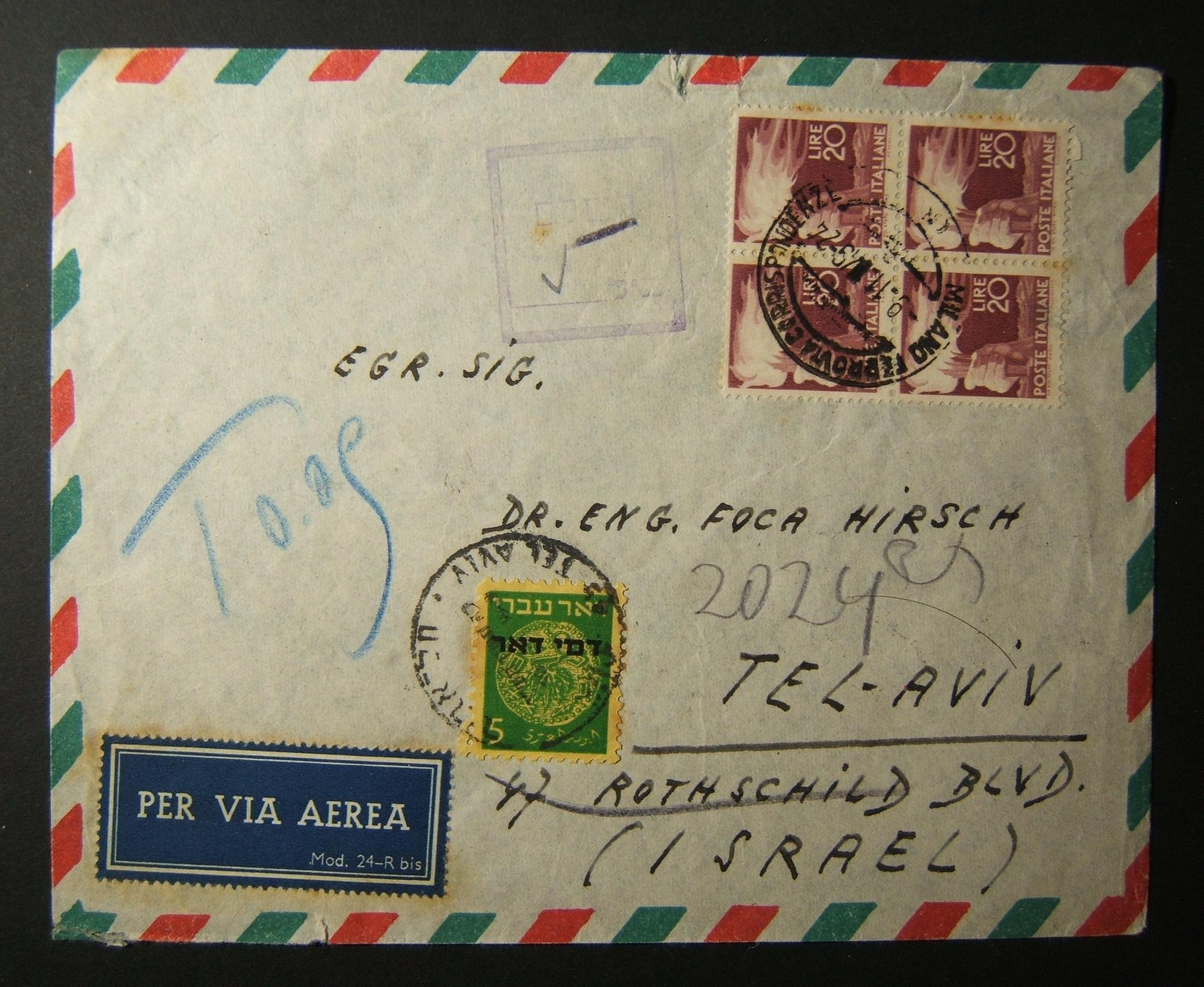 1949 incoming Italian taxed mail: 9-11-49 airmail comm. cv ex MILANO to TLV underfranked at 80L and taxed 5Pr in Israel, marked by scarce rectangular cachet, paid using BaPD2 frank