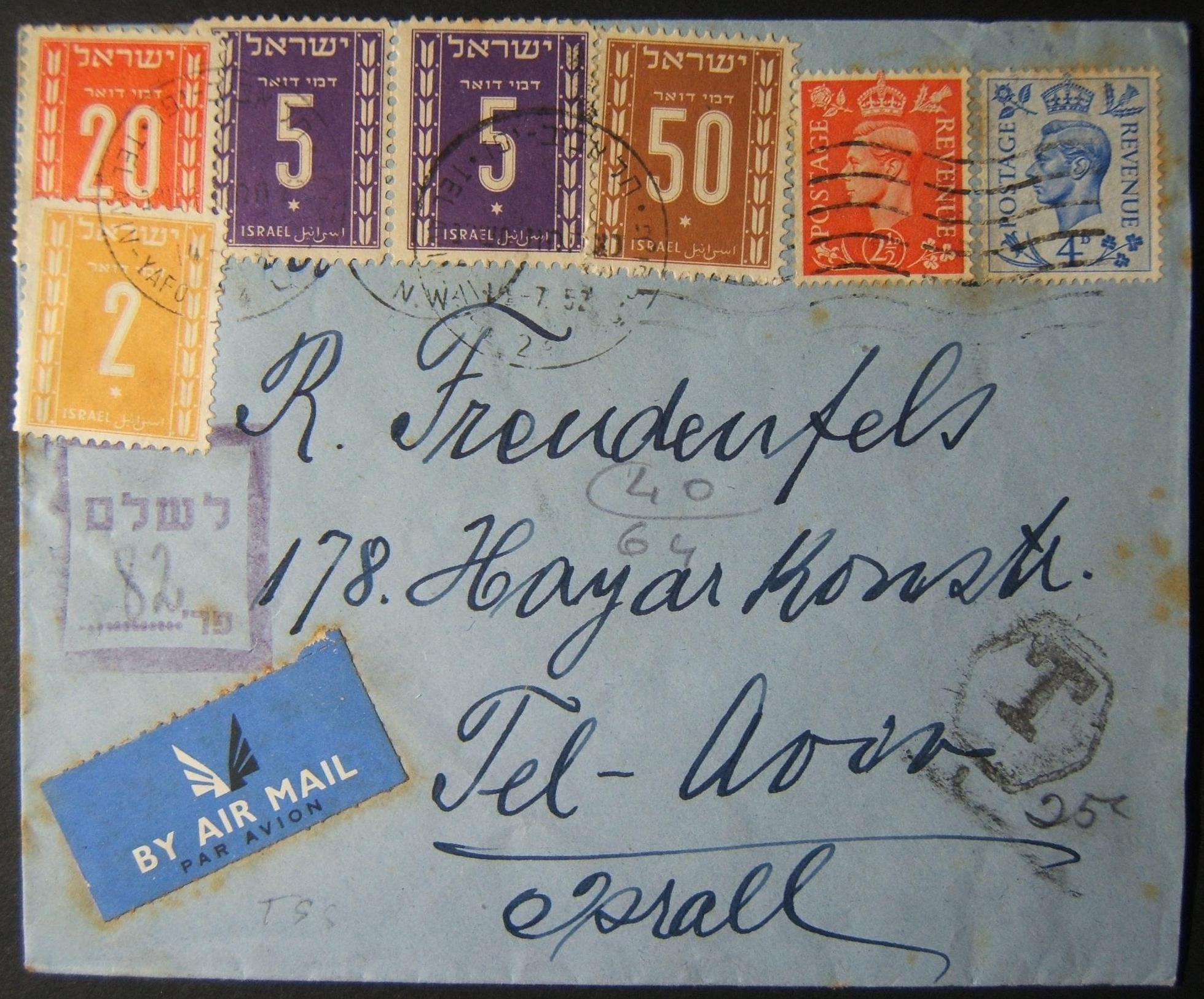 7/1952 underfranked British airmail taxed using 4-color 2nd Postage Dues stamps