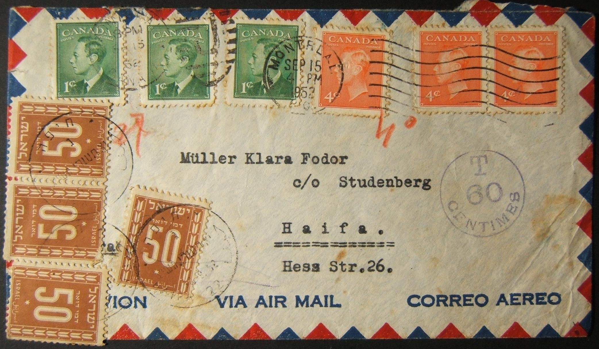 9/1952 underfranked Canadian airmail taxed using 4x multiple 50Pr Postage Dues stamps