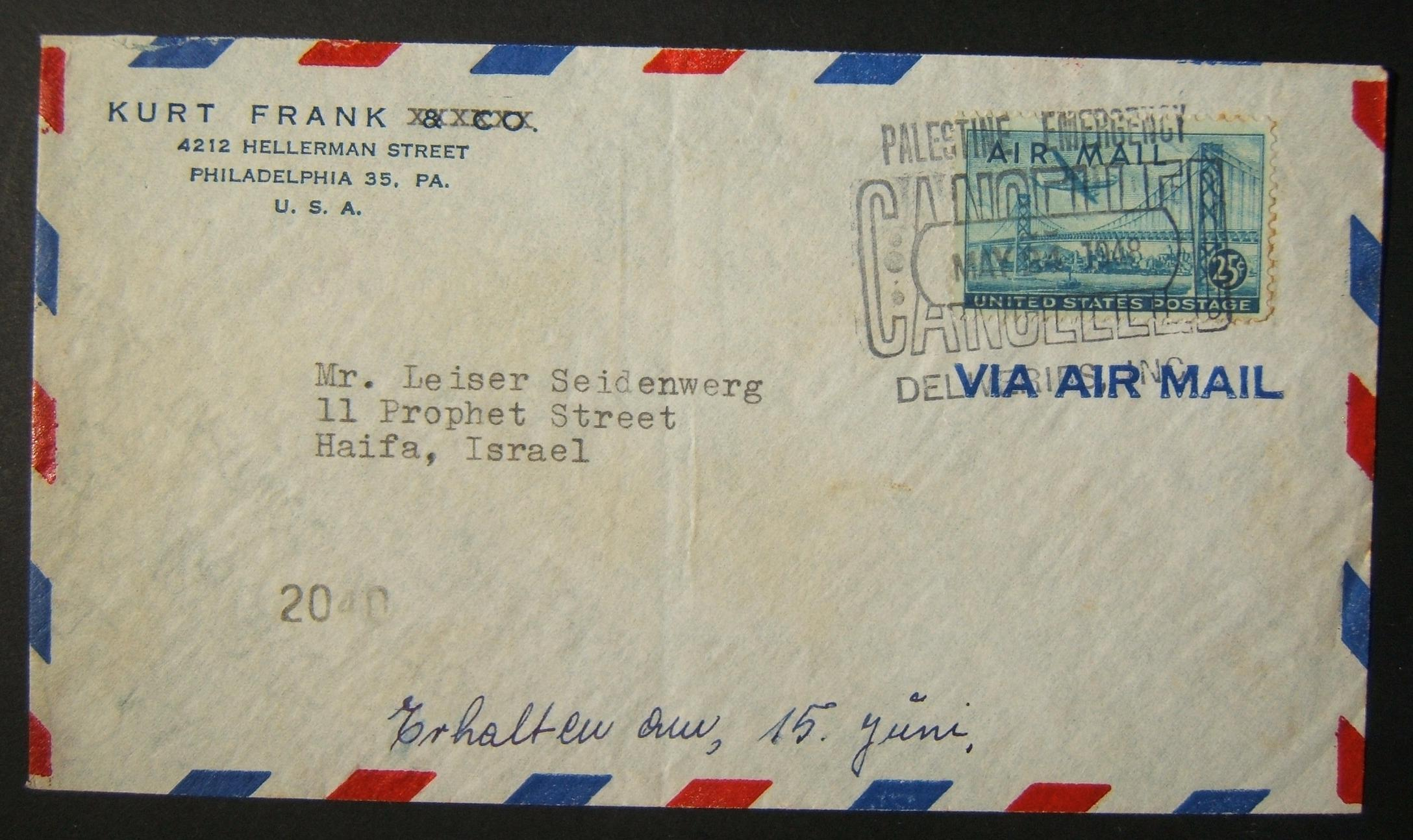 1948 PEDI [2nd day] mail: comm. cv ex PHILADELPHIA to HAIFA franked 25c at airmail rate to Israel tied by full strike of MAY 24 1948 pmk (2nd day of PEDI service) and numbered