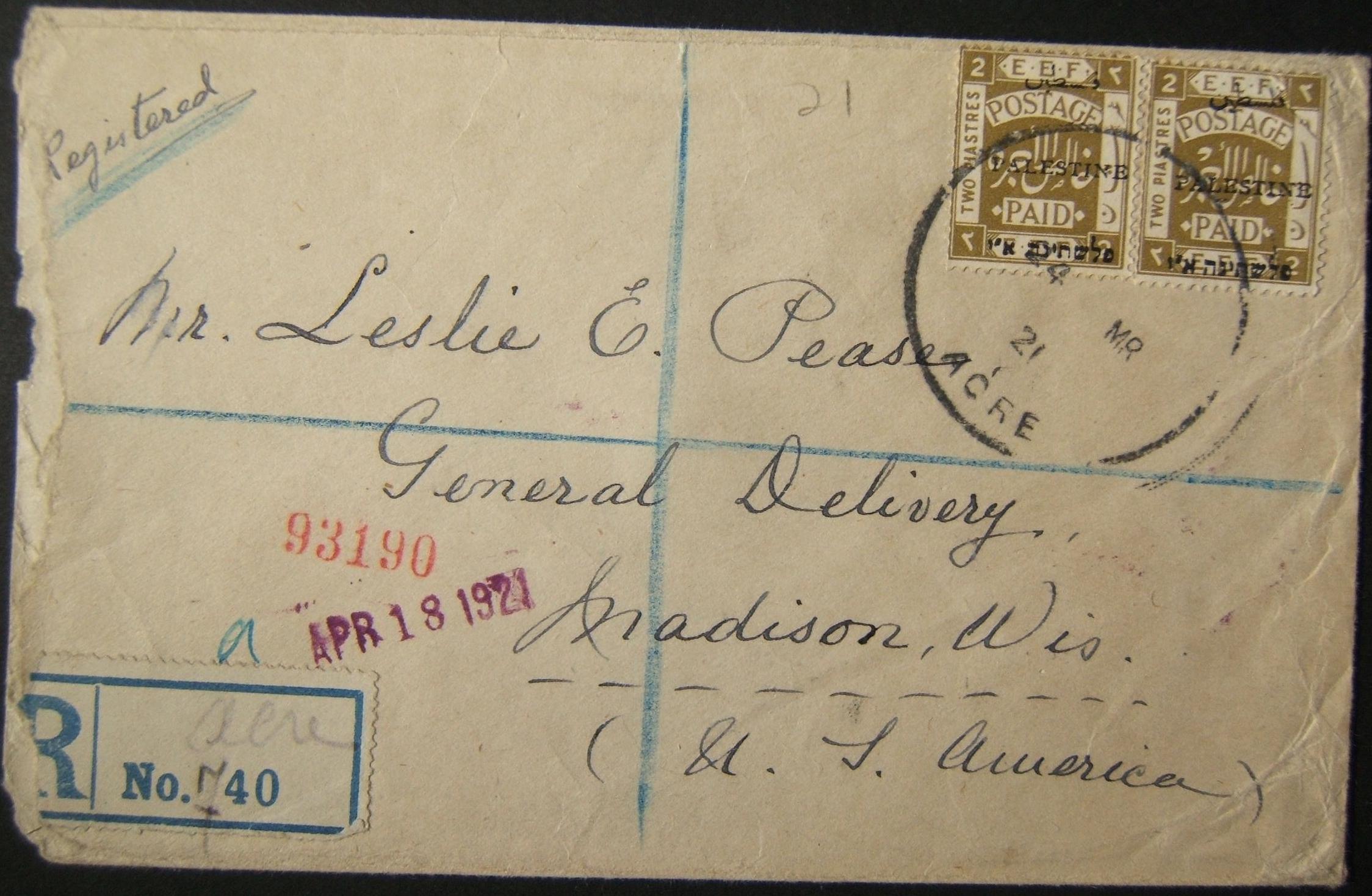 3/1921 رسائل بريدية من نوع ACRE و HAIFA REGISTERED نادرة + طابع مختوم وتسمية أخرس على البريد إلى الولايات المتحدة الأمريكية