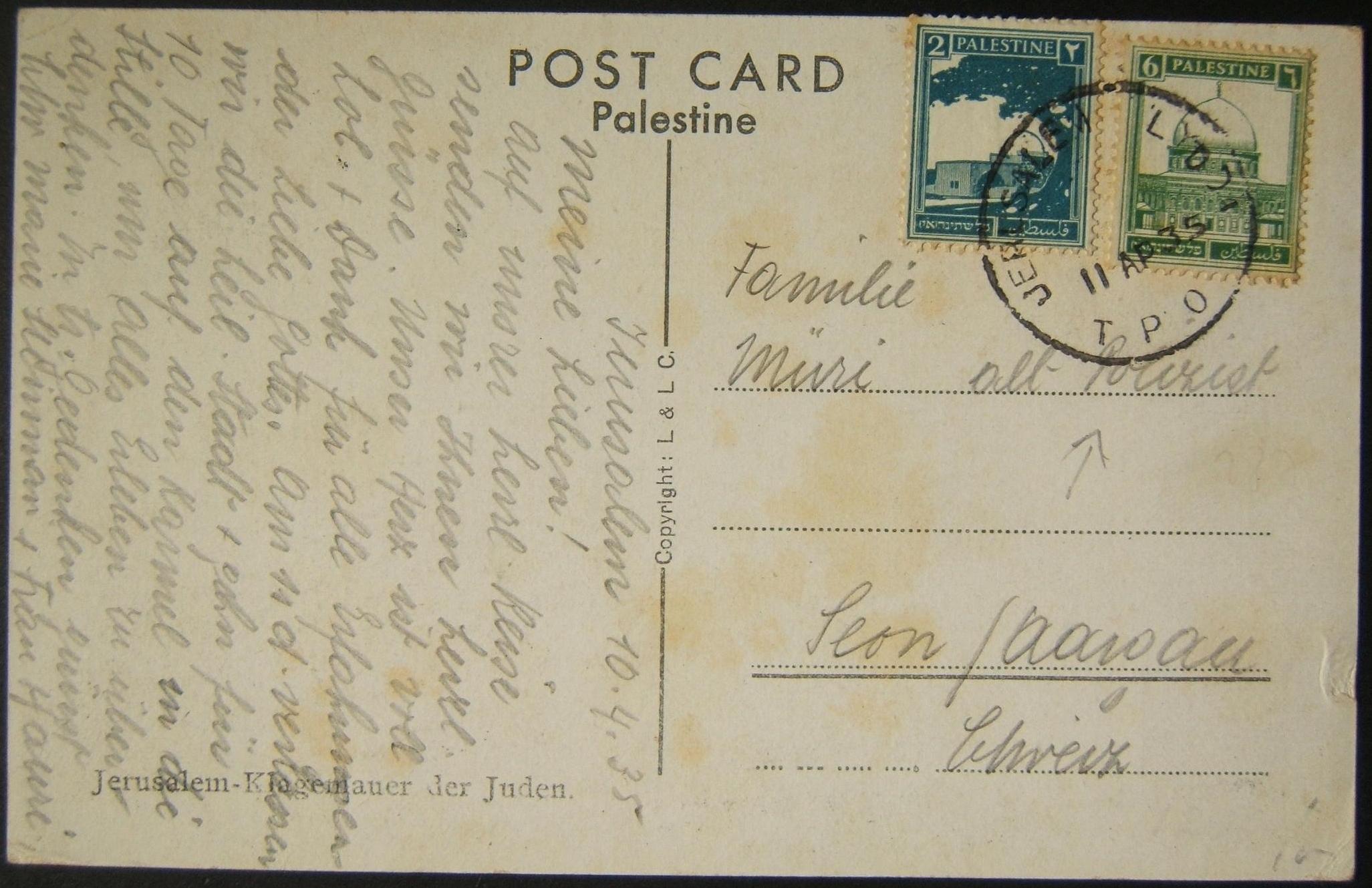 4/1935 نادرة للغاية نادرة ختم بريدية دينار أردني TDA على بطاقة بريدية إلى سويسرا