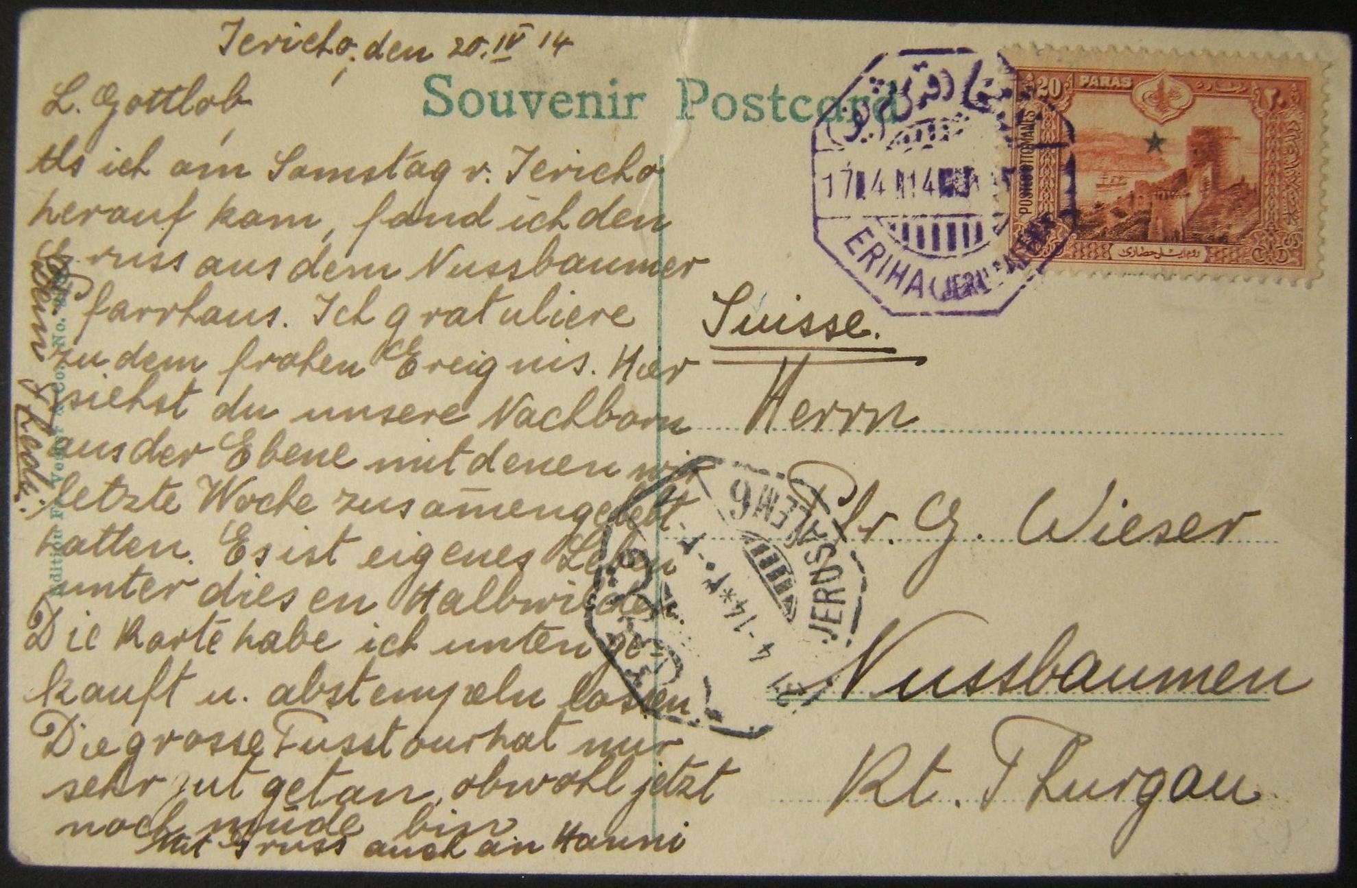 4/1914 Holyland العثمانية ERIHA / JERUSALEM ختم البريد البنفسجي على بطاقة بريدية إلى سويسرا