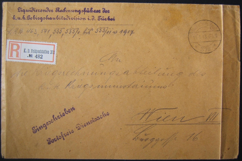1/1918 מלחמת העולם הראשונה דואר רשום של הוליילנד אוסטרו-גרמניה לכתובת VIENNA דרך סוריה; סימני דואר נדירים