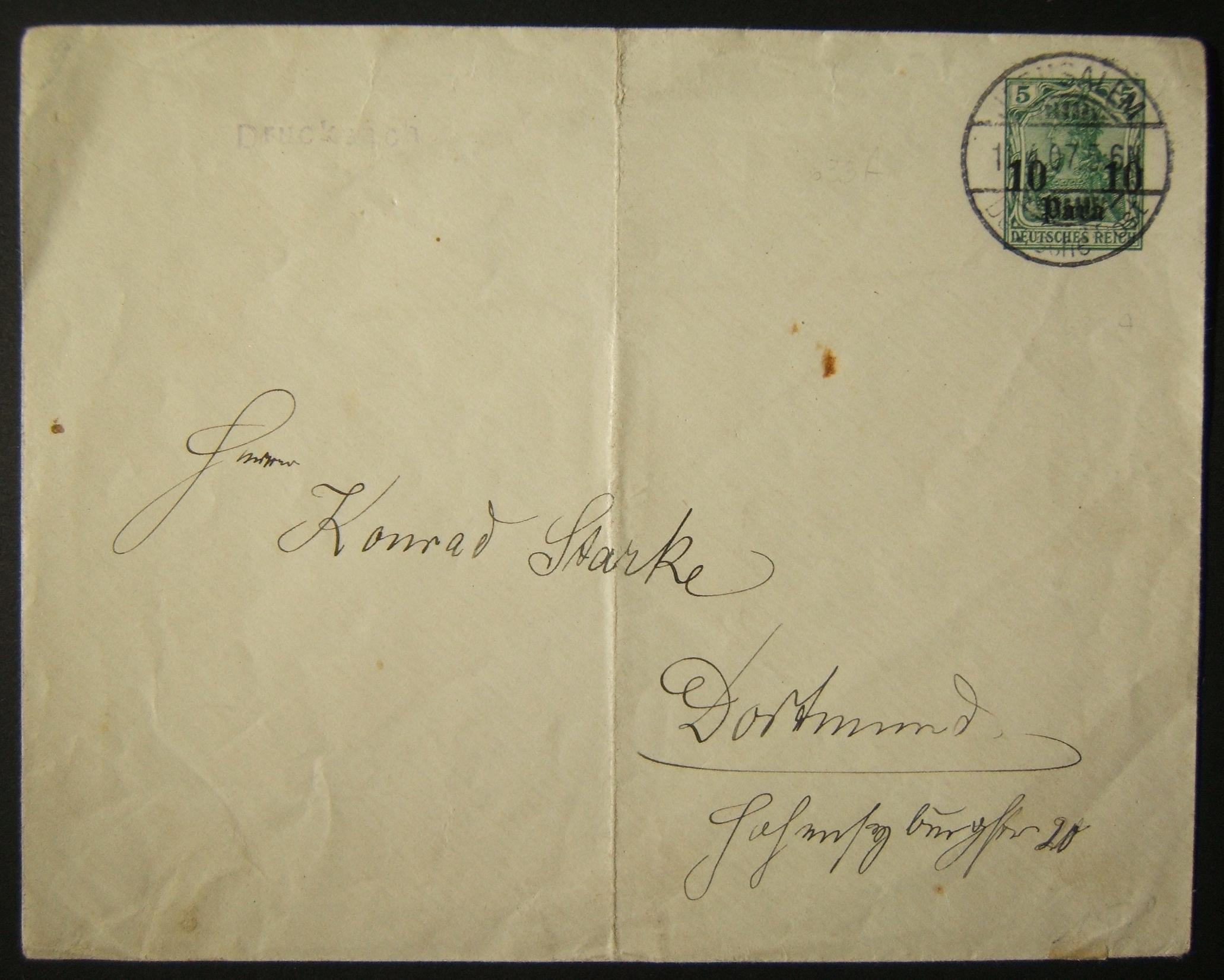 4/1907 Holyland German post Levant مسبقة الدفع مطبوعة من JERUSALEM إلى DORTMUND