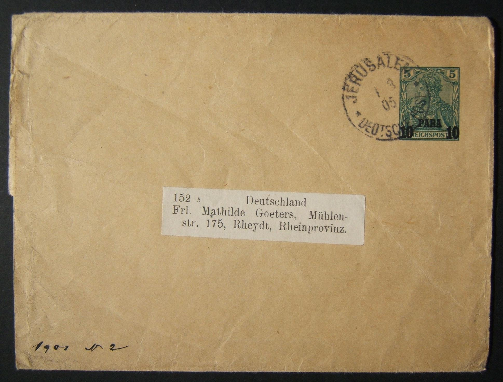 3/1905 Holyland German Post Levant prepaid wrapper from JERUSALEM to RHEYDT