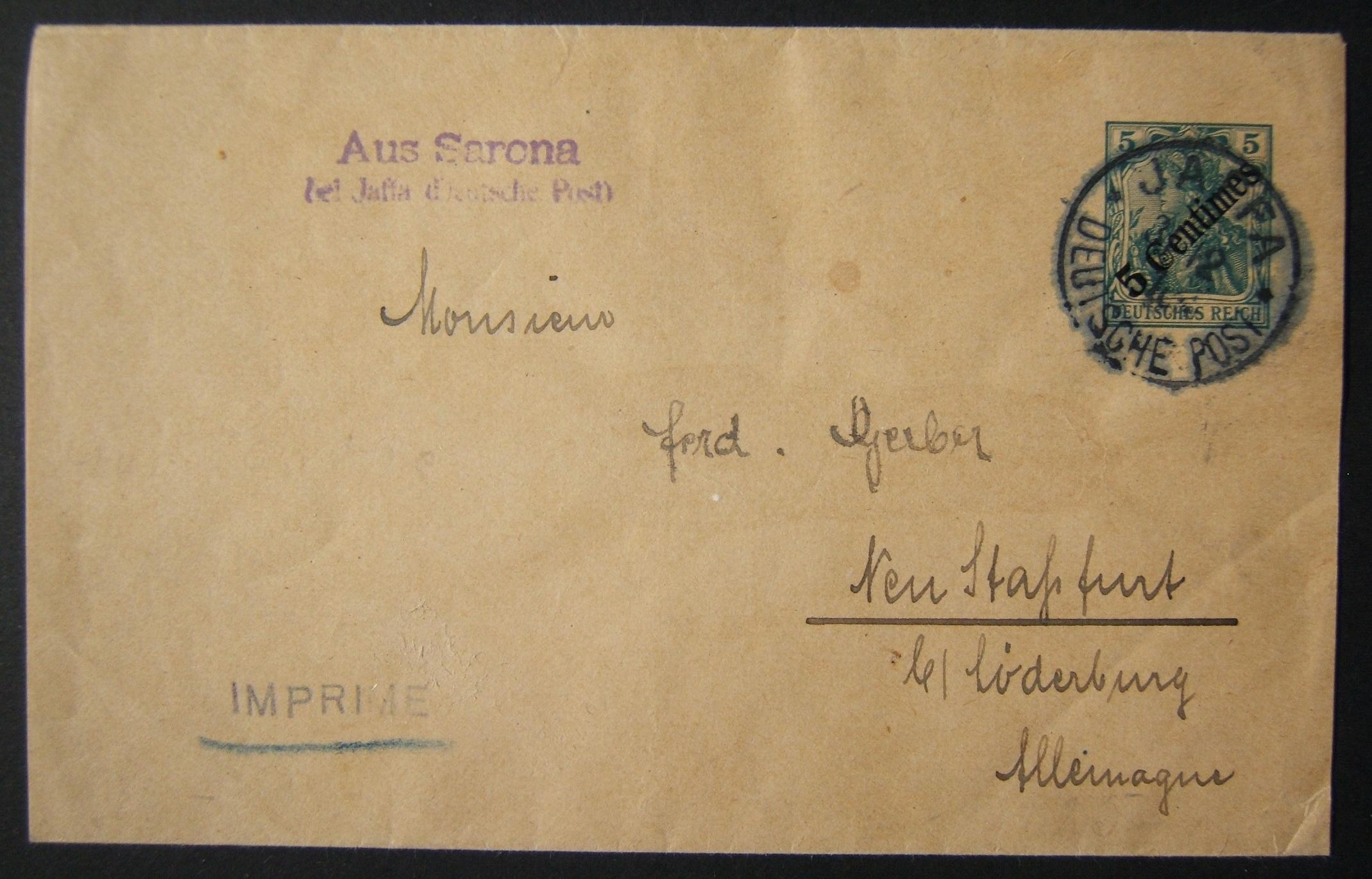 12/1910 Holyland German post Levant prepaid wrapper from JAFFA to Germany via SARONA