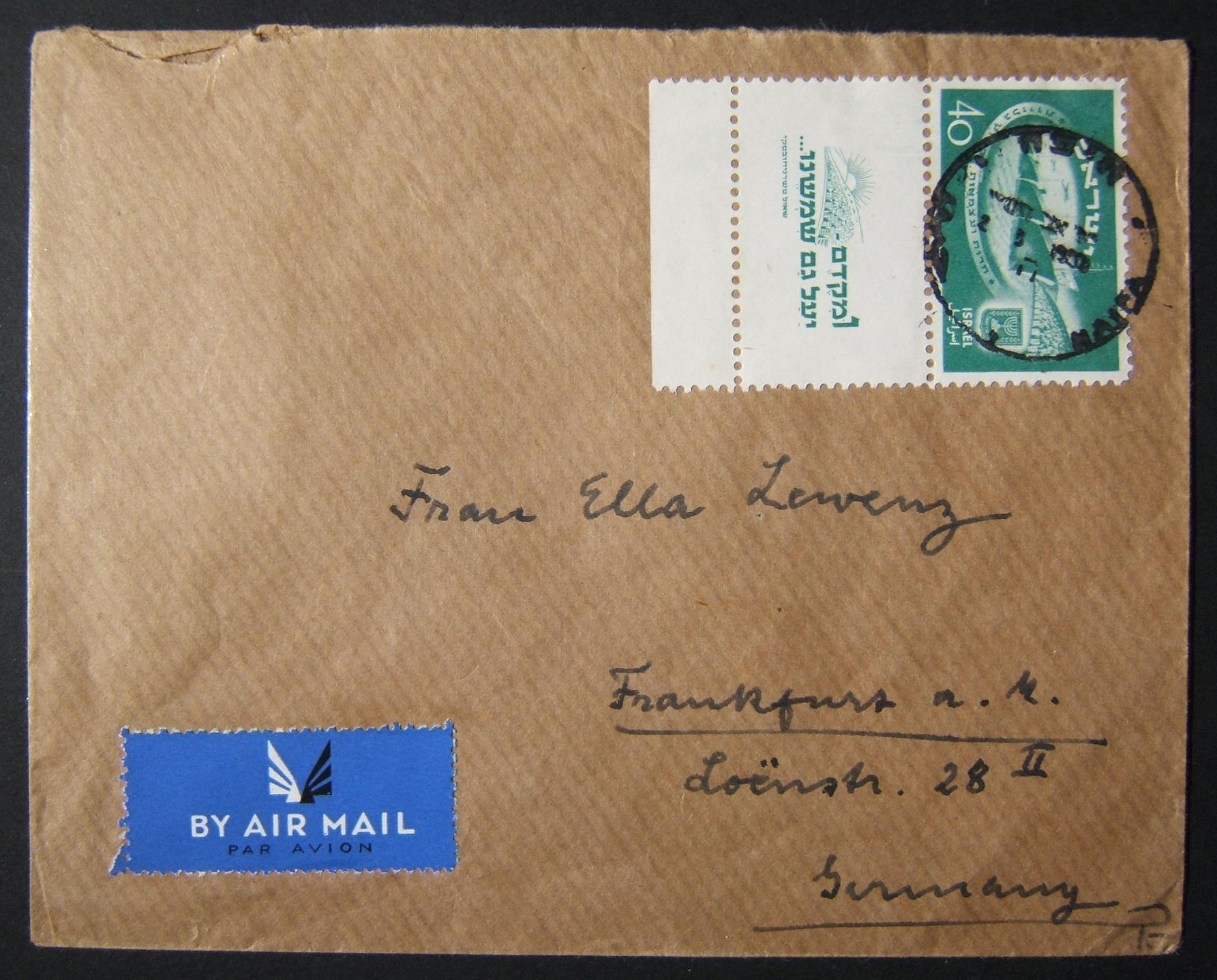 8/1950 airmail to Germany using full tabbed 40pr Independence Day single stamp