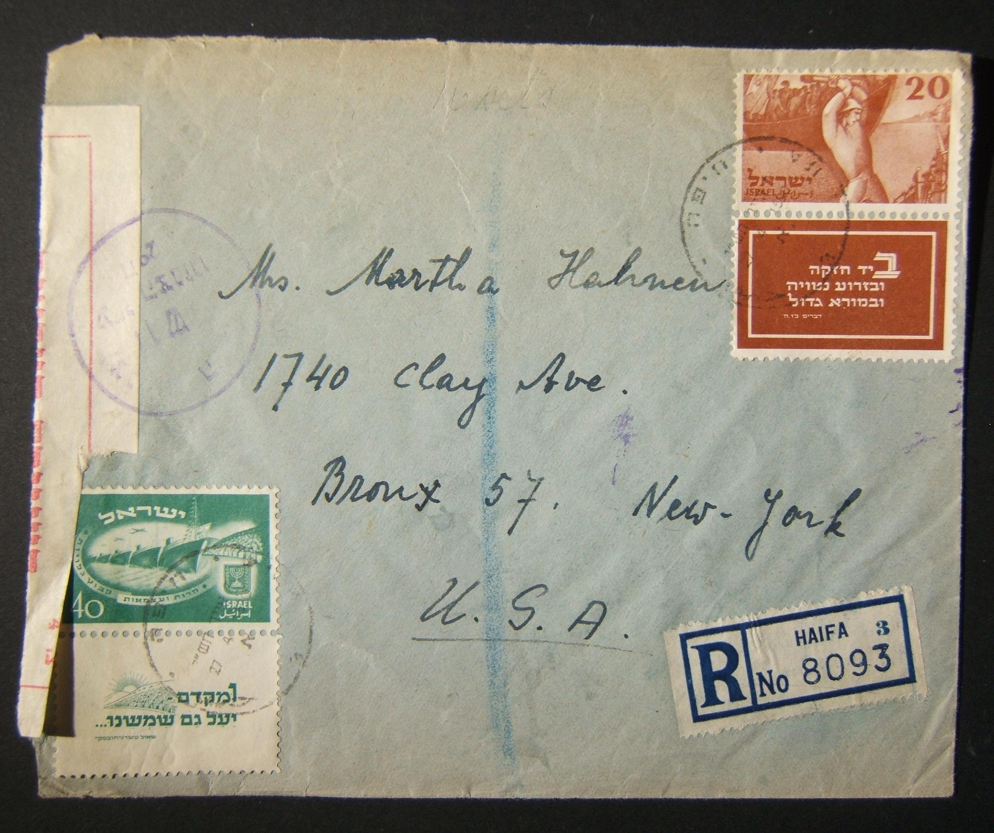 4/1950 surface mail from HAIFA to US using short-tabbed 20/40Pr Independence stamps