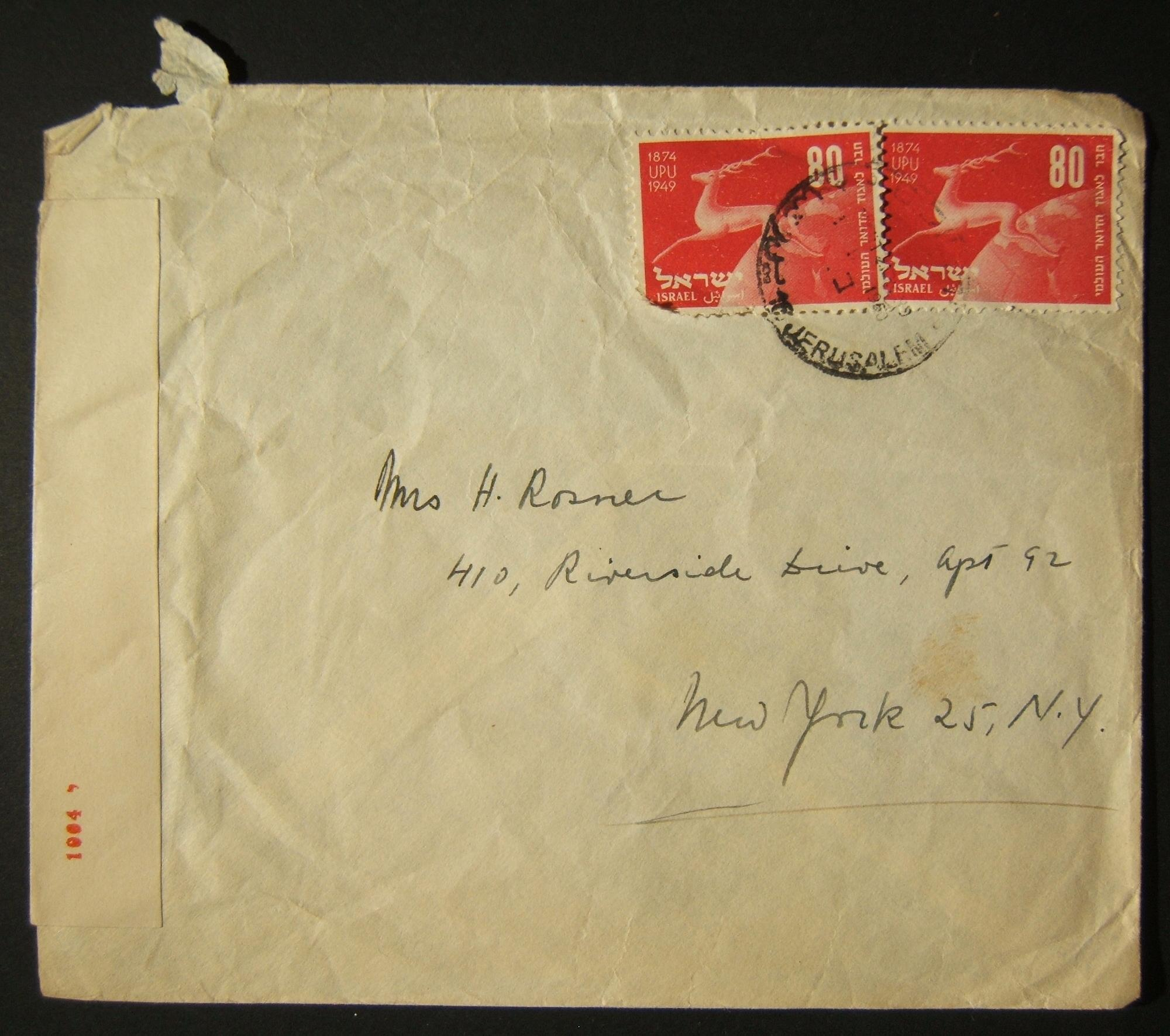 1950 UPU / rates & routes: 3-9-1950 airmail cover ex JERUSALEM to NYC franked 160pr double-rate at the FA-2a rate for additional weight, using 2x 80pr (Ba28) tied by single strike