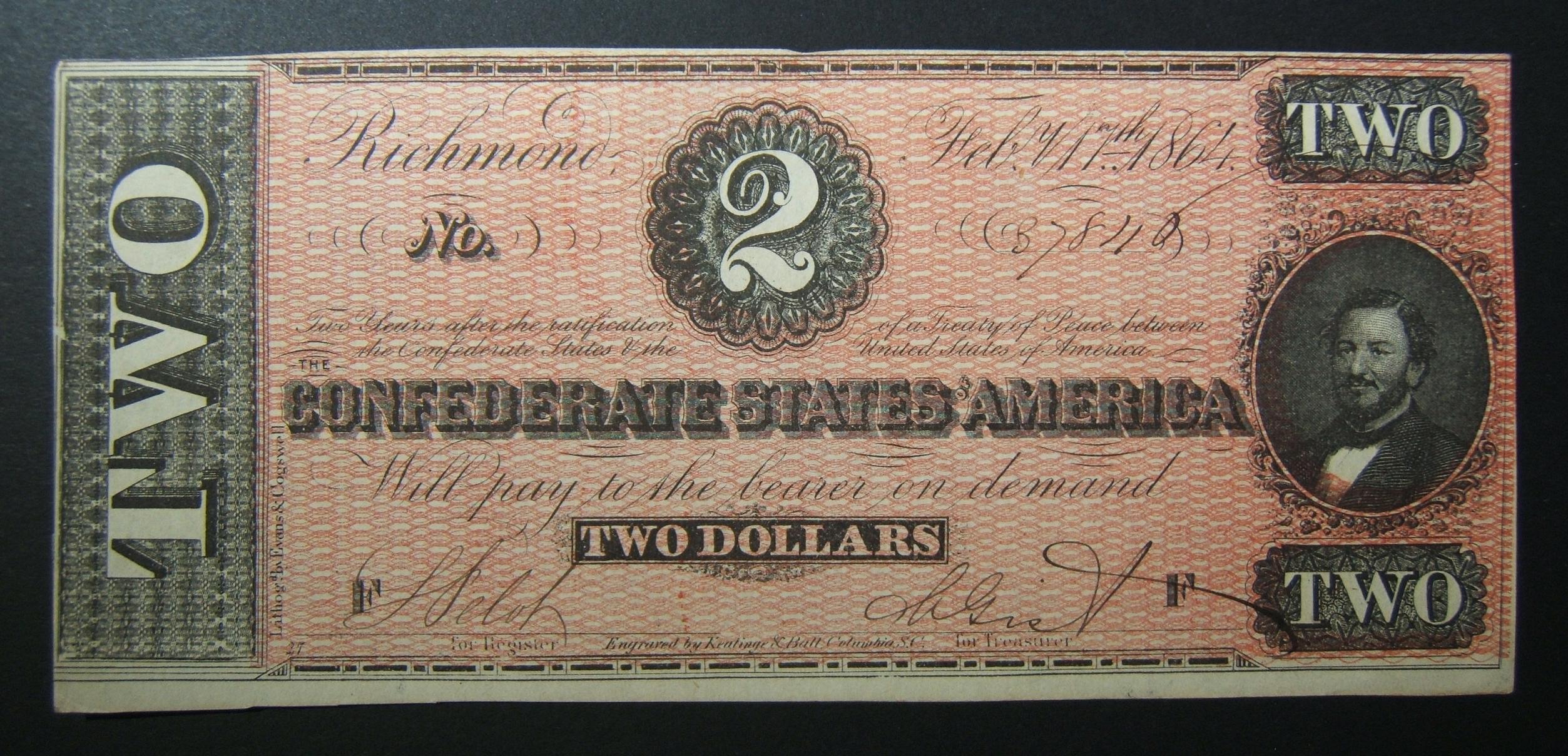 ארצות הקונפדרציה של אמריקה $ 2 גרייבק T70 יהודה בנימין שטר 1864 C-569