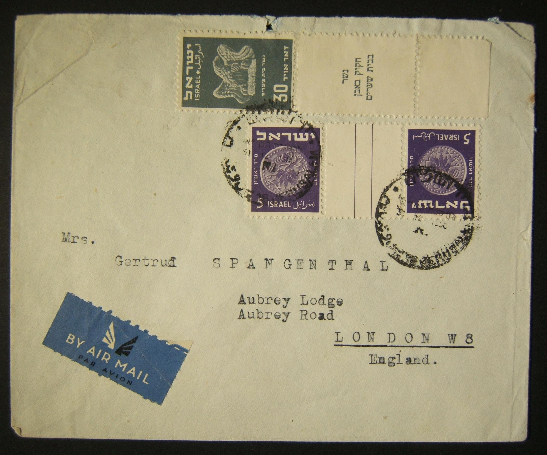 1950 1st airmail / PO's, rates & routes: 31-12-1950 ex Jewish Agency for Palestine stationary as airmail cover ex JERUSALEM to LONDON franked 40pr at the FA-2a period rate to Europ
