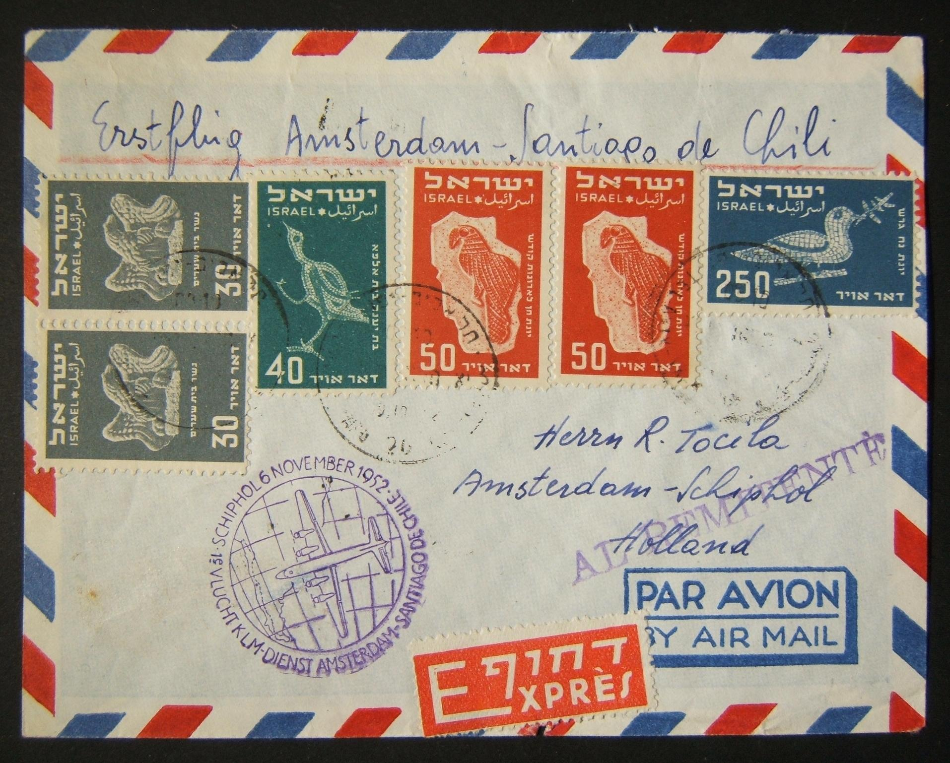 30-10-1952 1st KLM Amsterdam-Santiago de Chile flight express a/m cv ex TLV to AMSTERDAM but actually flown on to CHILE probably by addressee, franked 450pr at FA-3a period rate to
