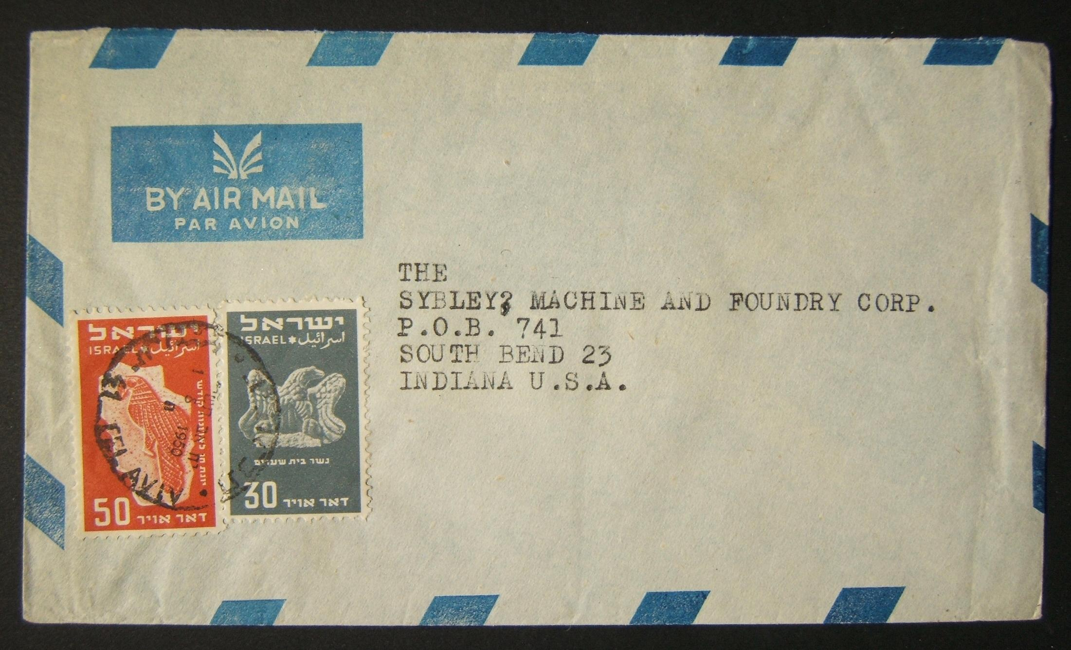 1950 1st airmail / PO's, rates & routes: 1-8-1950 airmail stationary commercial cover ex TLV to INDIANA franked 80pr at the FA-2a period letter rate using 30pr & 50pr (Ba33/35) tie