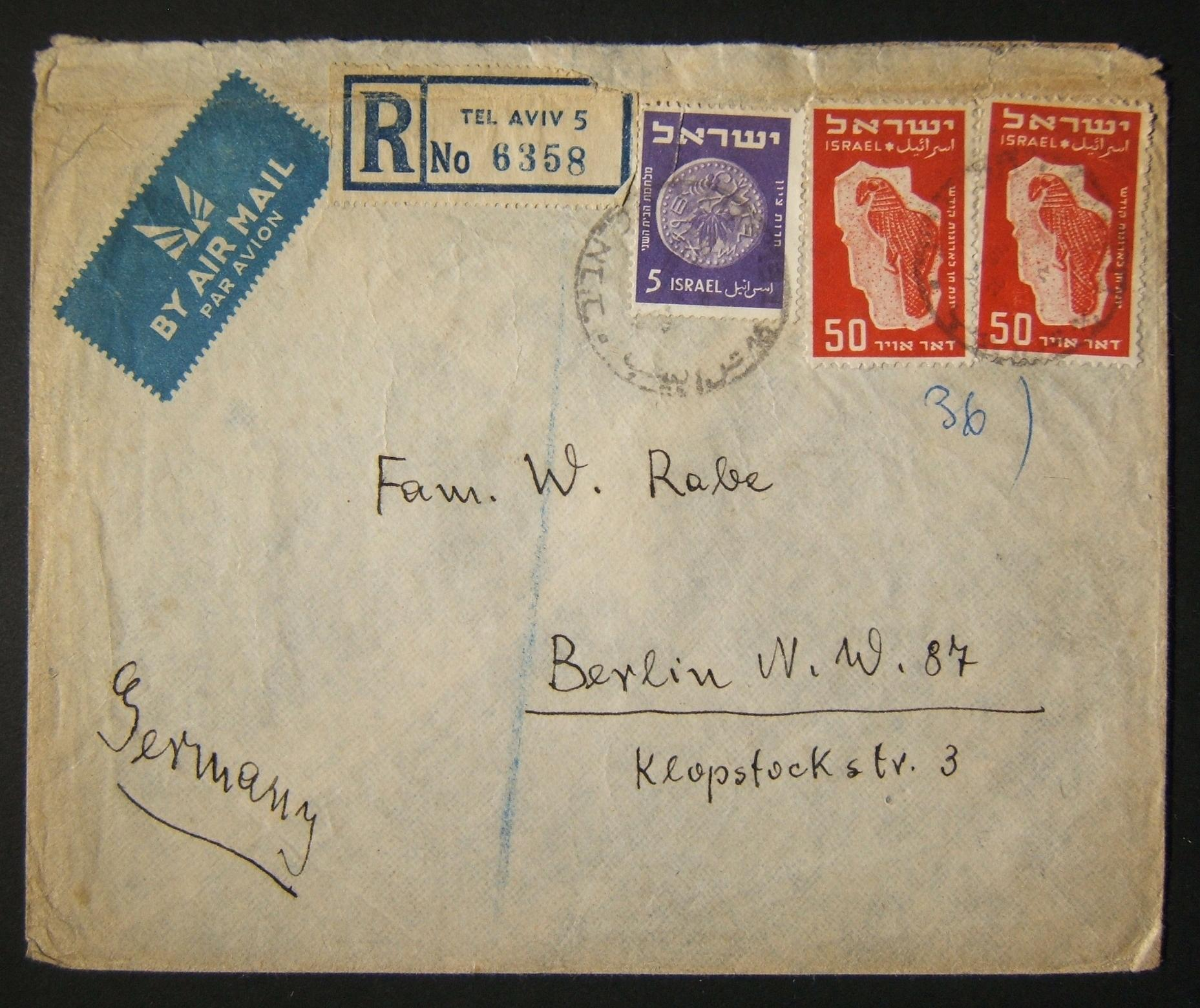 1950 1st airmail / PO's, rates & routes: 20-11-1950 airmail stationary registered commercial cover ex TLV to West BERLIN franked 105pr at the FA-2a period rate (40pr letter + 25pr