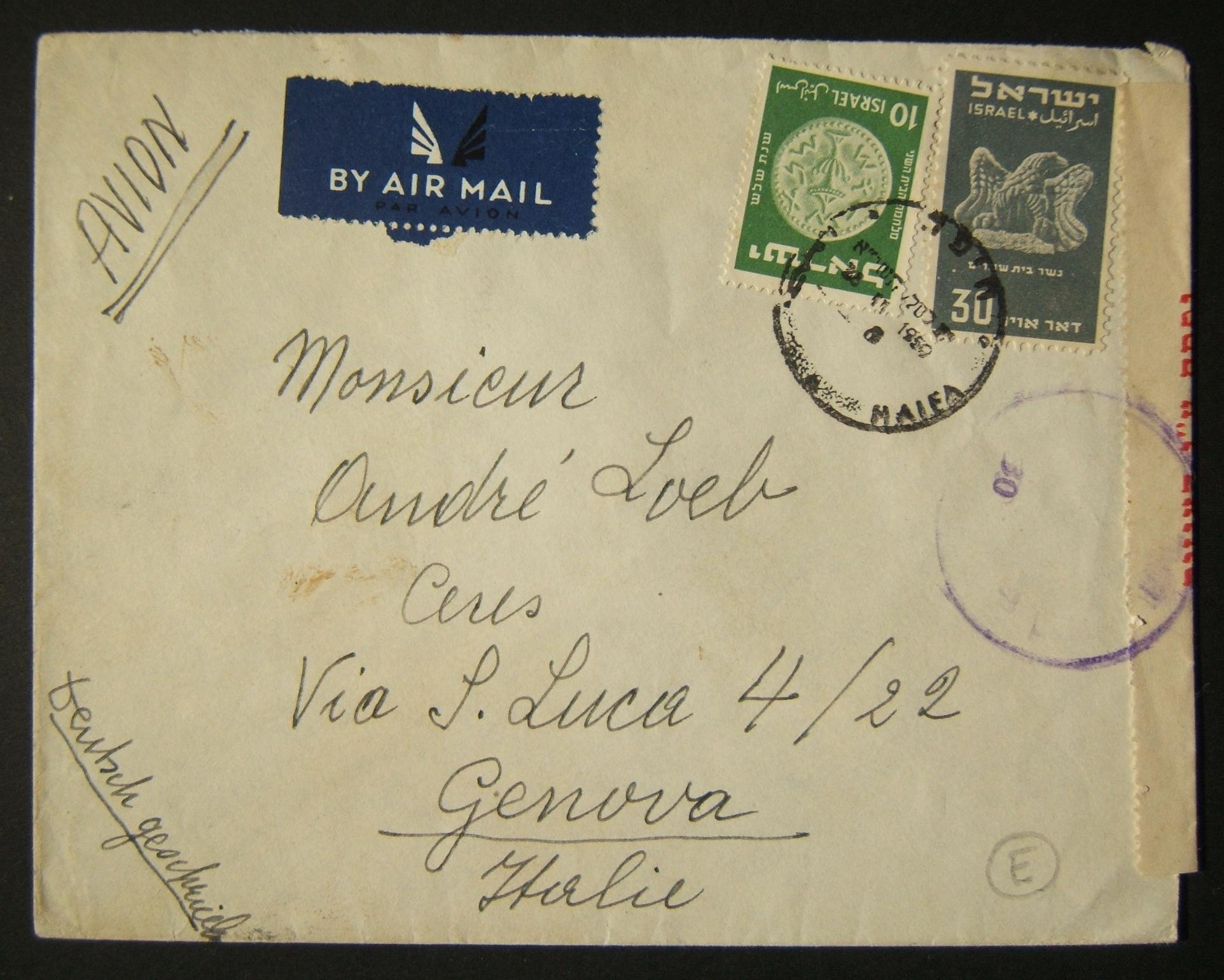 1950 1st airmail / PO's, rates & routes: 28-11-1950 airmail cover ex HAIFA to GENOVA franked 40pr at the FA-2a period rate to Europe using 30pr (Ba33) + 10pr 1950 3rd Coinage (Ba43