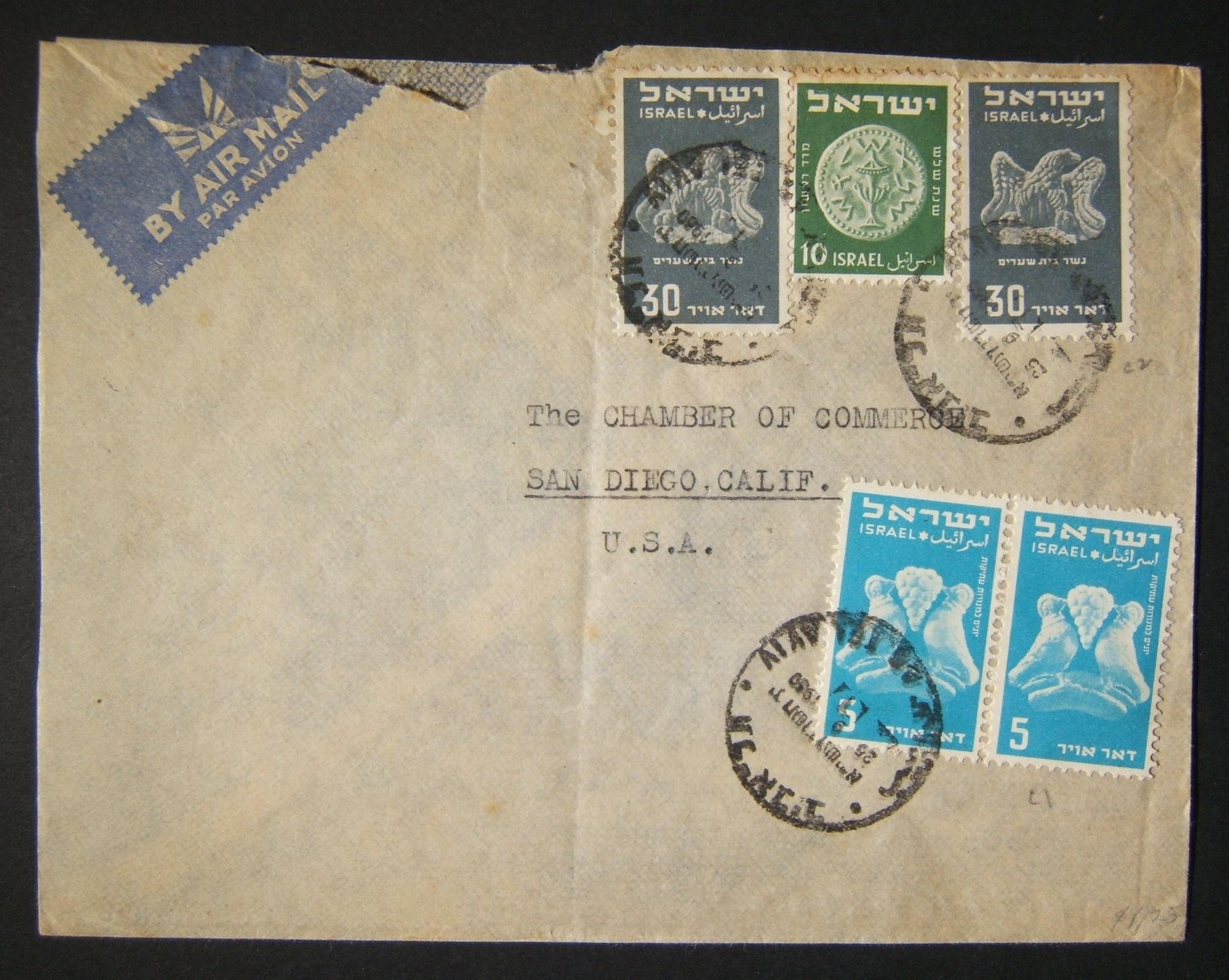 1950 1st airmail / PO's, rates & routes: 25-9-1950 airmail commercial cover ex TLV to SAN DIEGO franked 80pr at the FA-2a period rate using mix of pair 5pr & 2x 30pr (Ba32/33) + 10